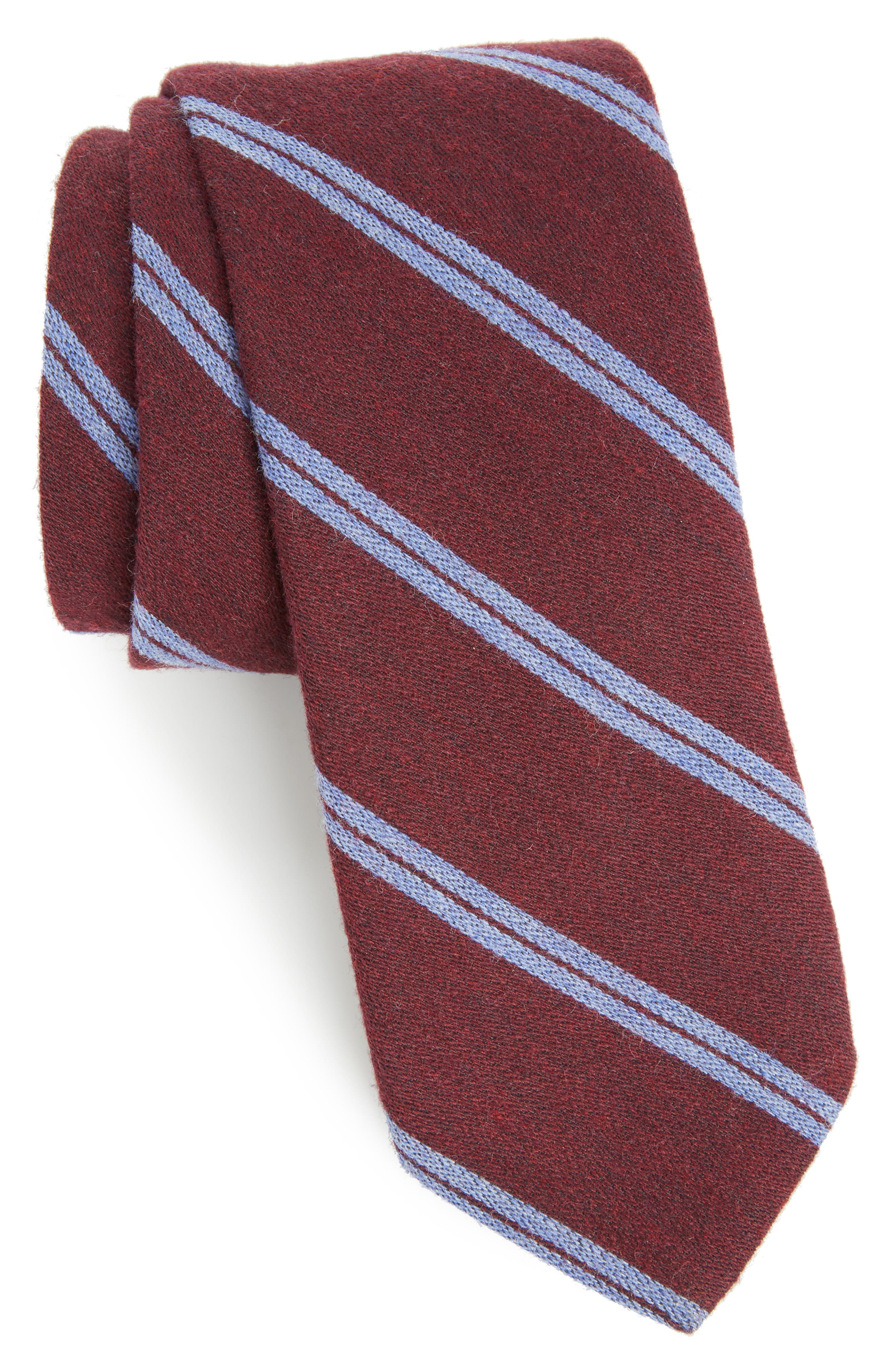 Deo Stripe Wool Tie,                             Main thumbnail 1, color,                             Red