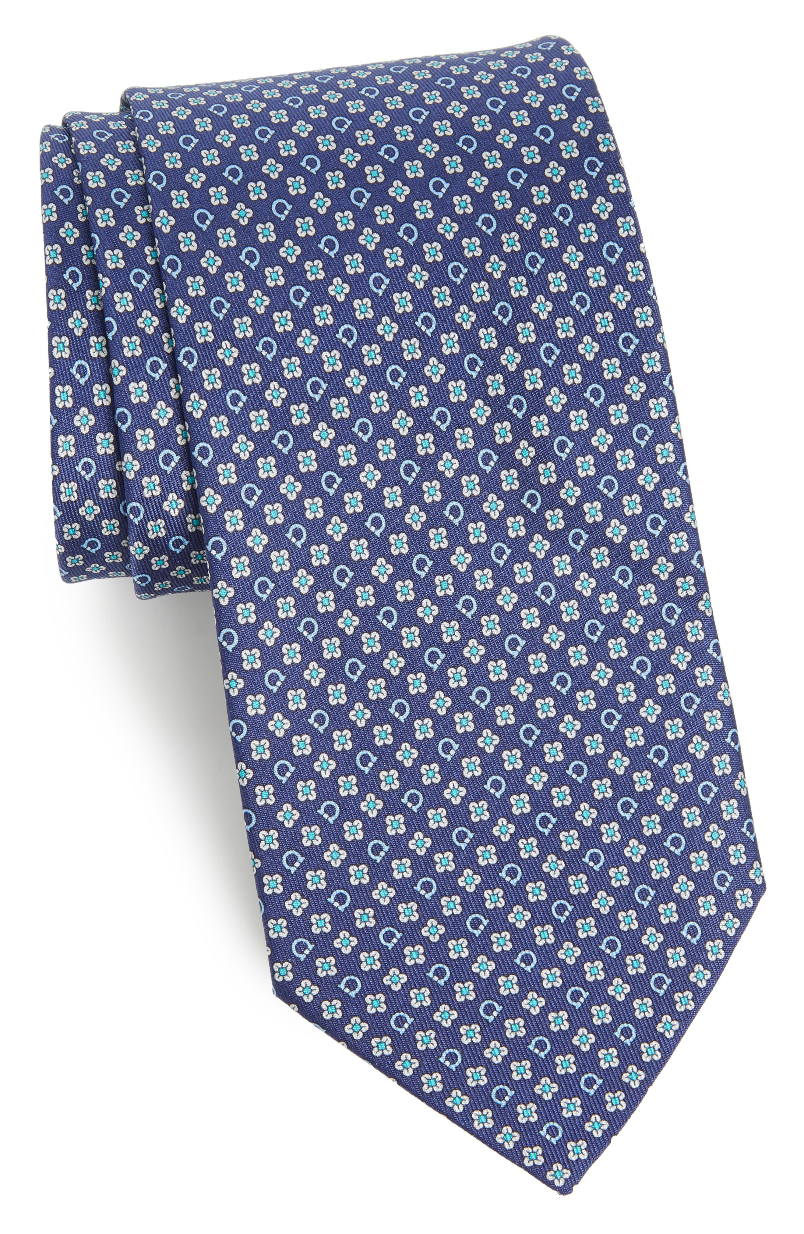 Salvatore Ferragamo Salvia Floral Print Silk Tie