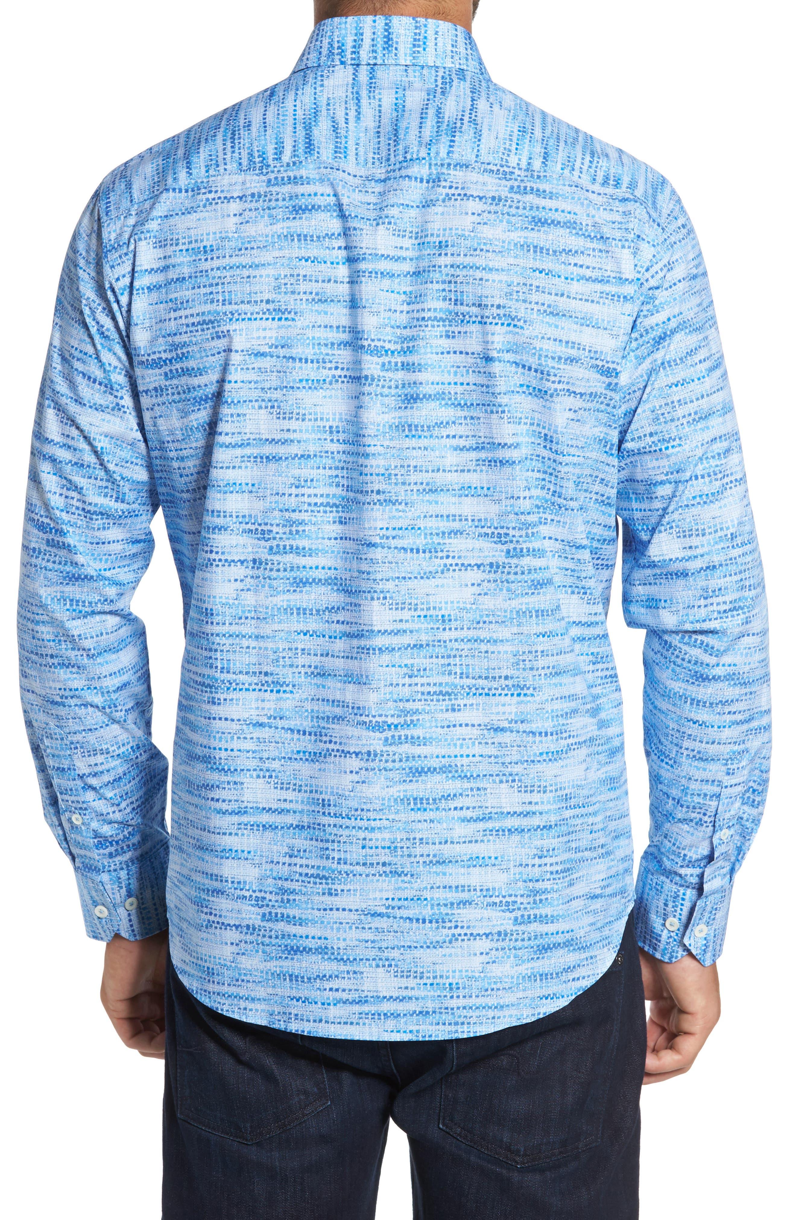 Classic Fit Weave Print Sport Shirt,                             Alternate thumbnail 2, color,                             Classic Blue