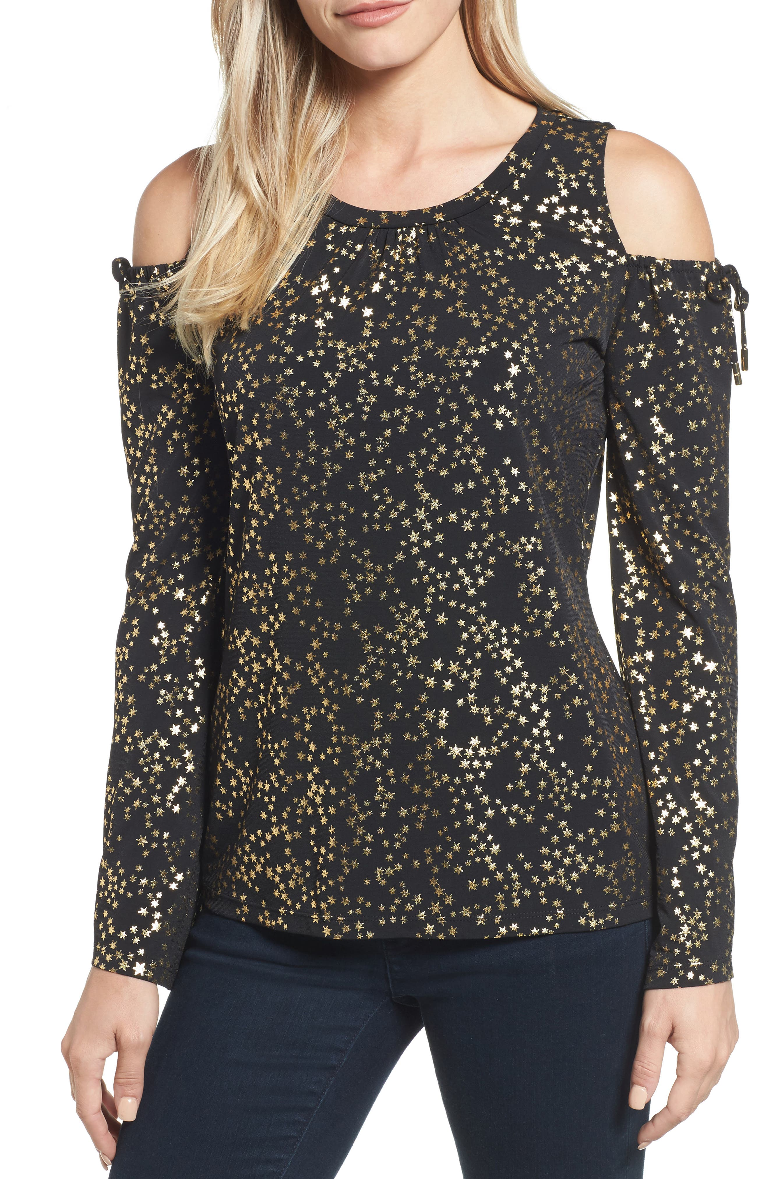 MICHAEL Michael Kors Star Foil Cold Shoulder Top