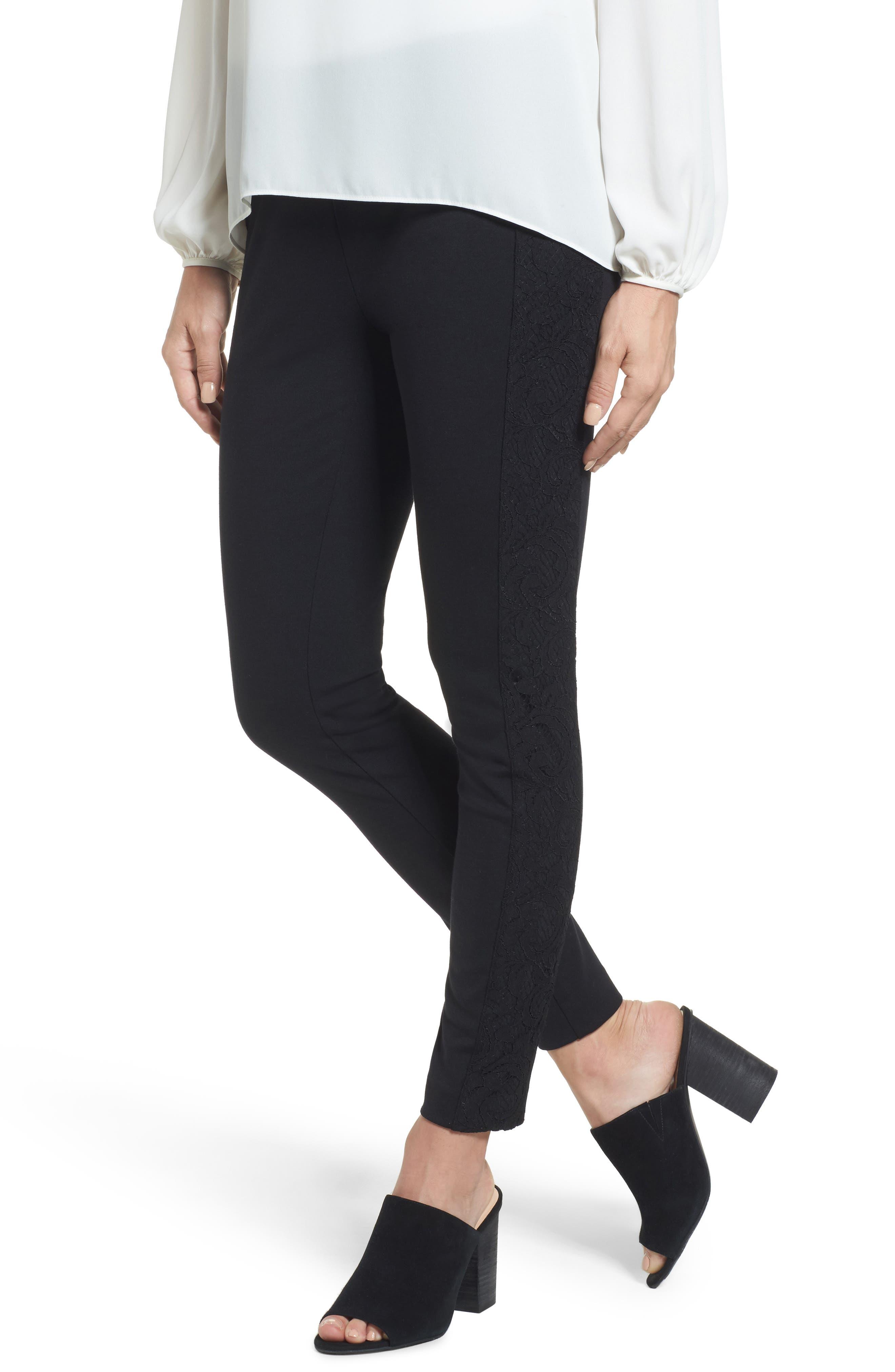Lace Side Leggings,                         Main,                         color, Black