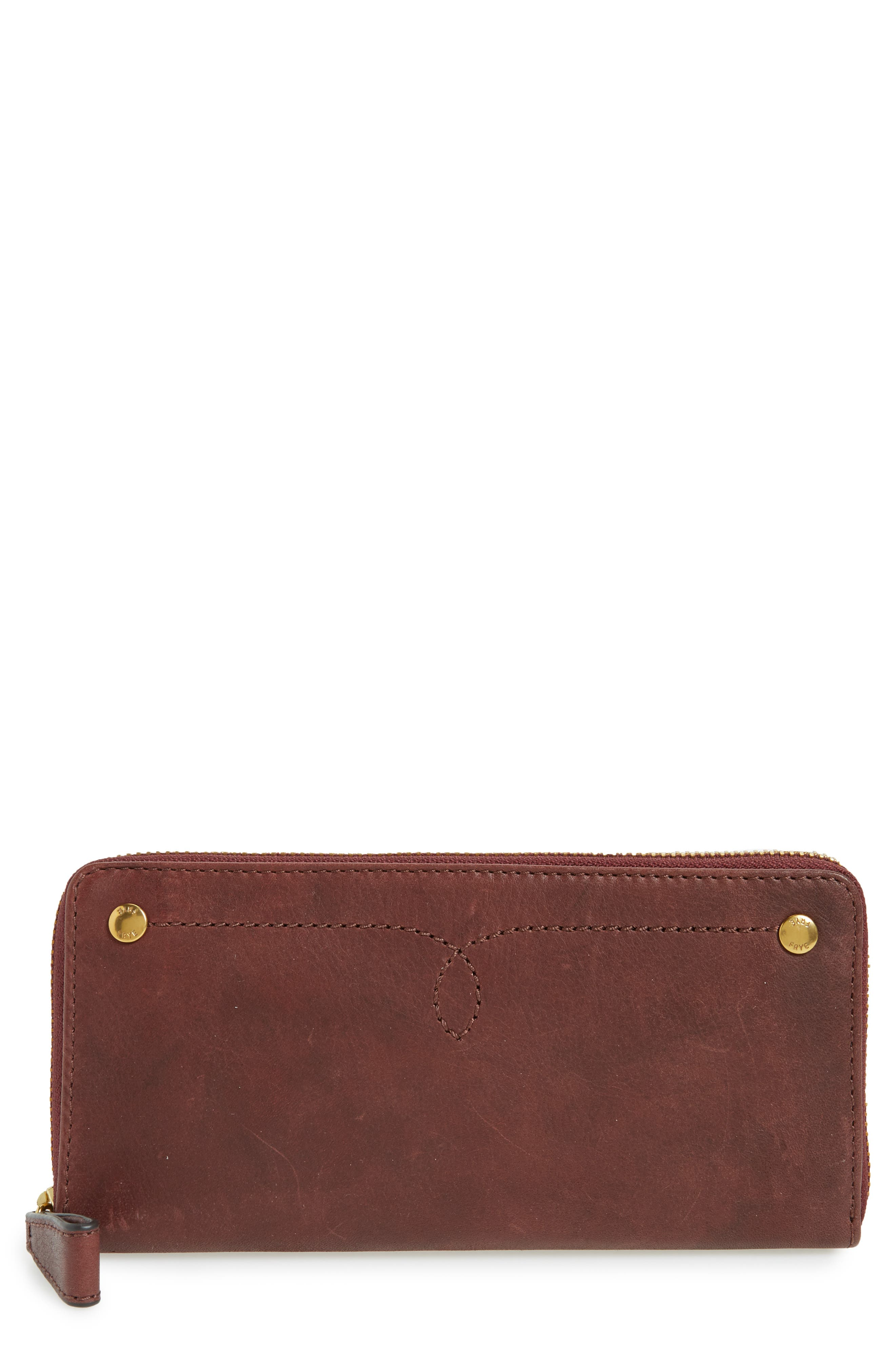Campus Rivet Leather Continental Zip Wallet,                             Main thumbnail 1, color,                             Black Cherry