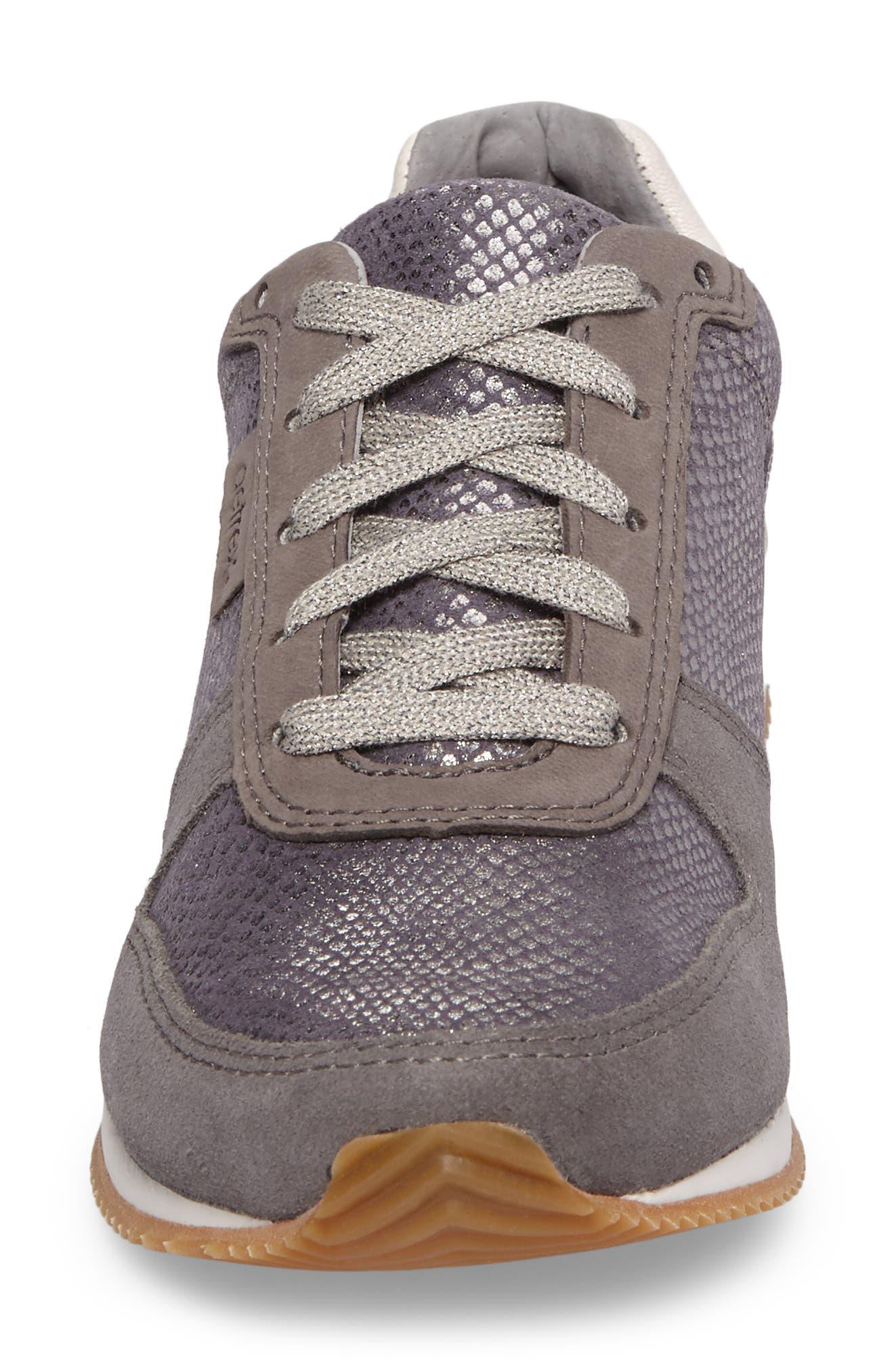 Daphne Sneaker,                             Alternate thumbnail 4, color,                             Grey Leather