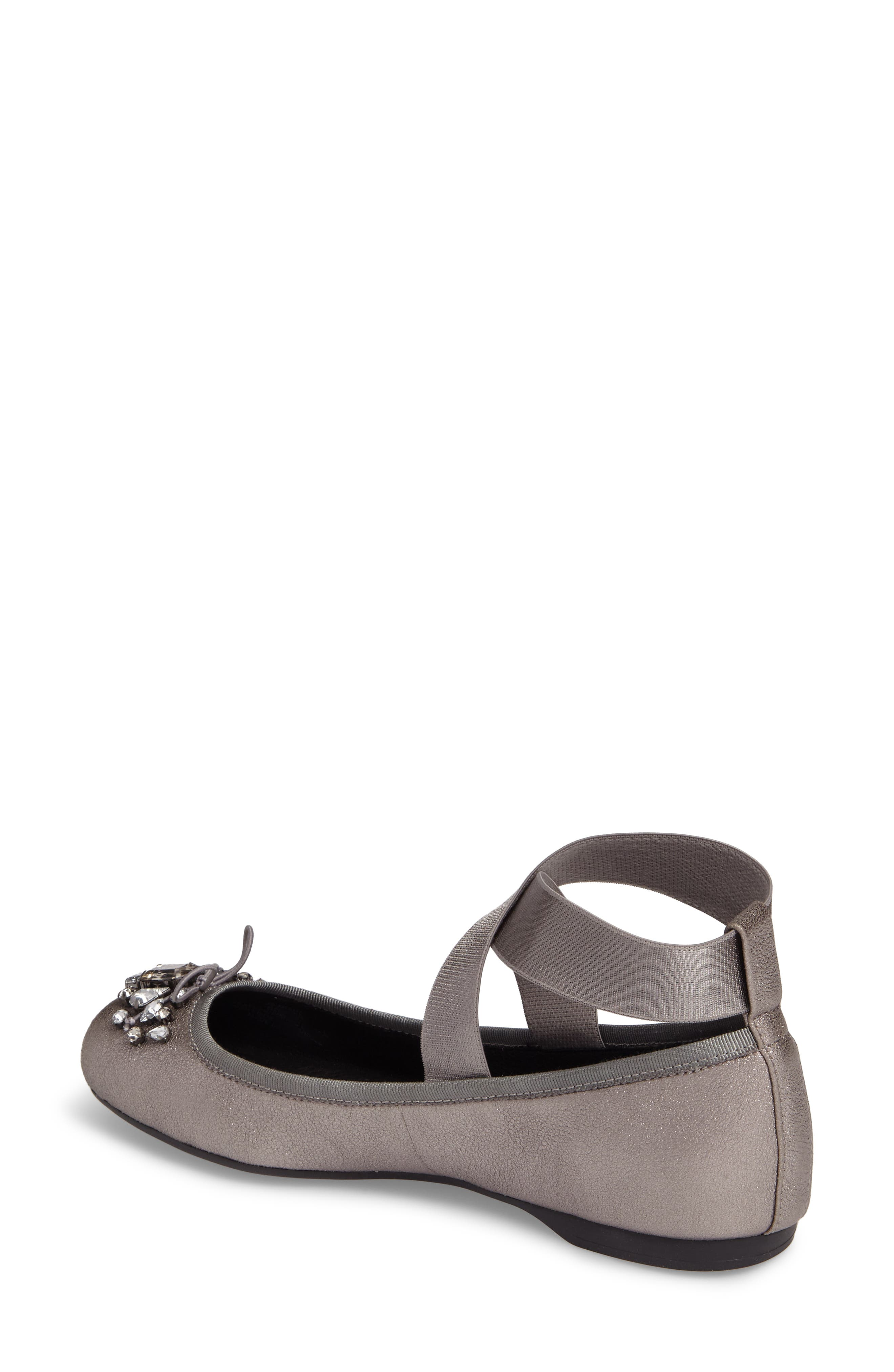 Miaha Embellished Blunt Toe Flat,                             Alternate thumbnail 2, color,                             Alloy Leather