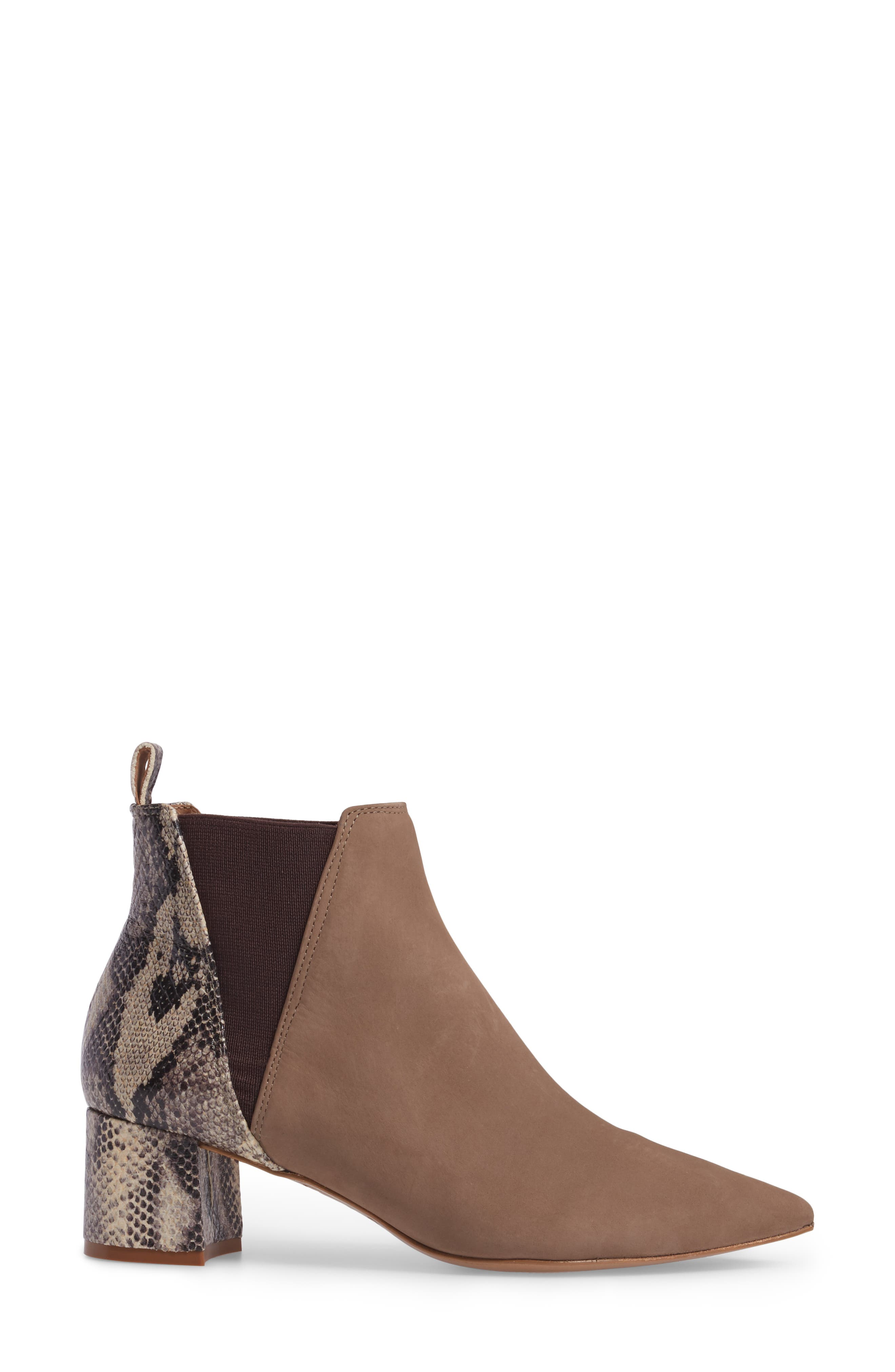Renita Pointy Toe Chelsea Bootie,                             Alternate thumbnail 3, color,                             Taupe Snake Print Suede