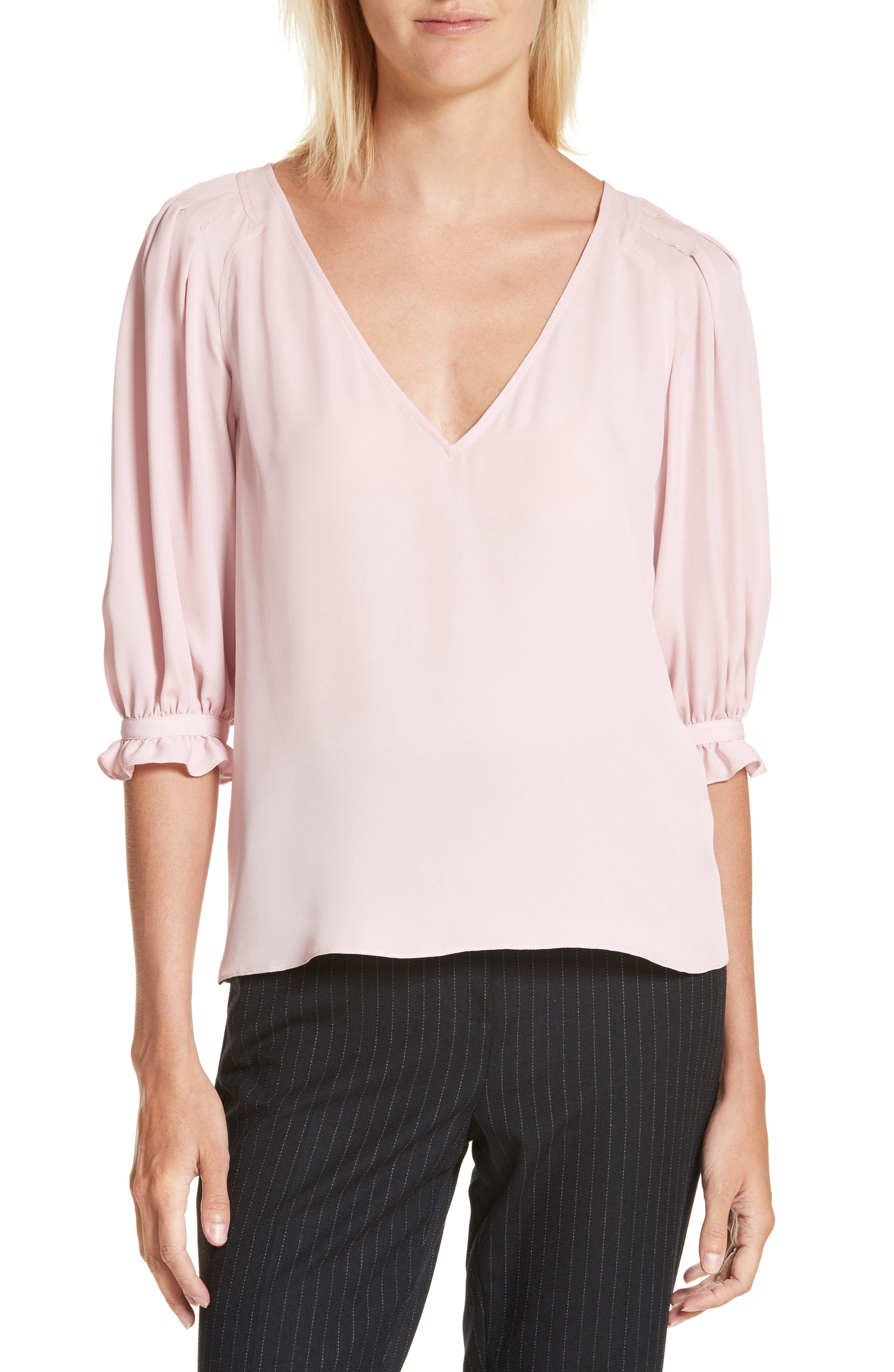 V-Neck Silk Blouse,                         Main,                         color, Pink Fairies