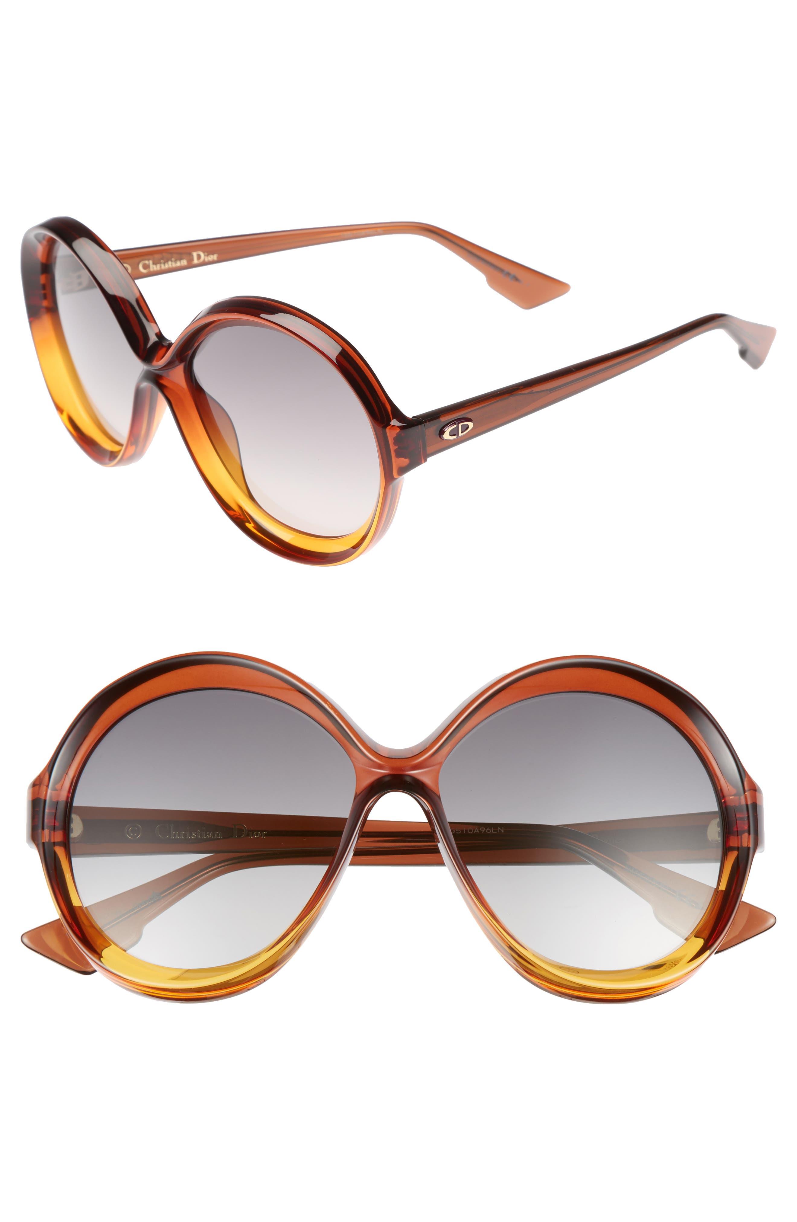 Bianca 58mm Round Sunglasses,                             Main thumbnail 1, color,                             Brown/ Orange