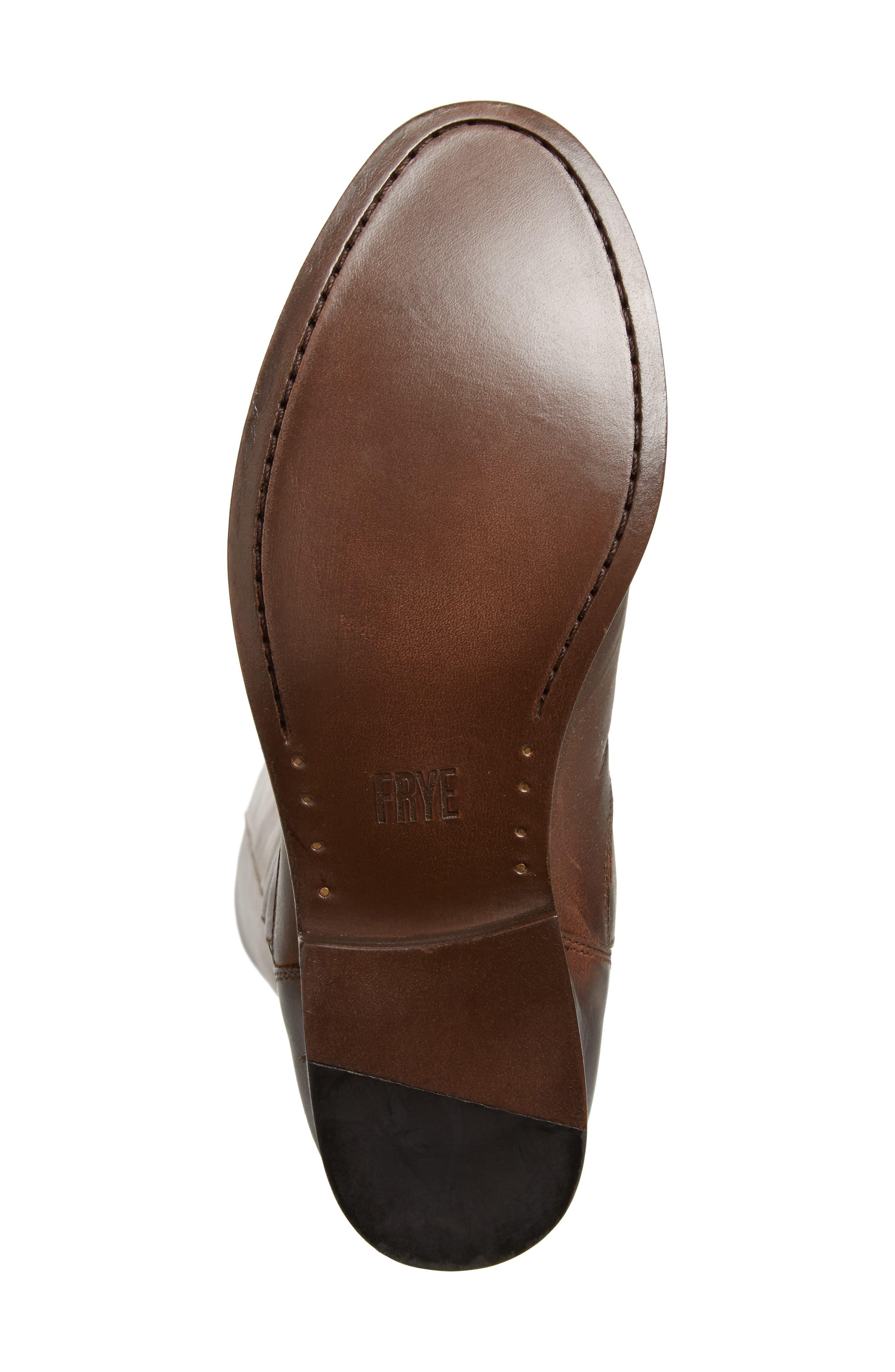 Melissa Stud Knee High Boot,                             Alternate thumbnail 6, color,                             Chocolate Leather