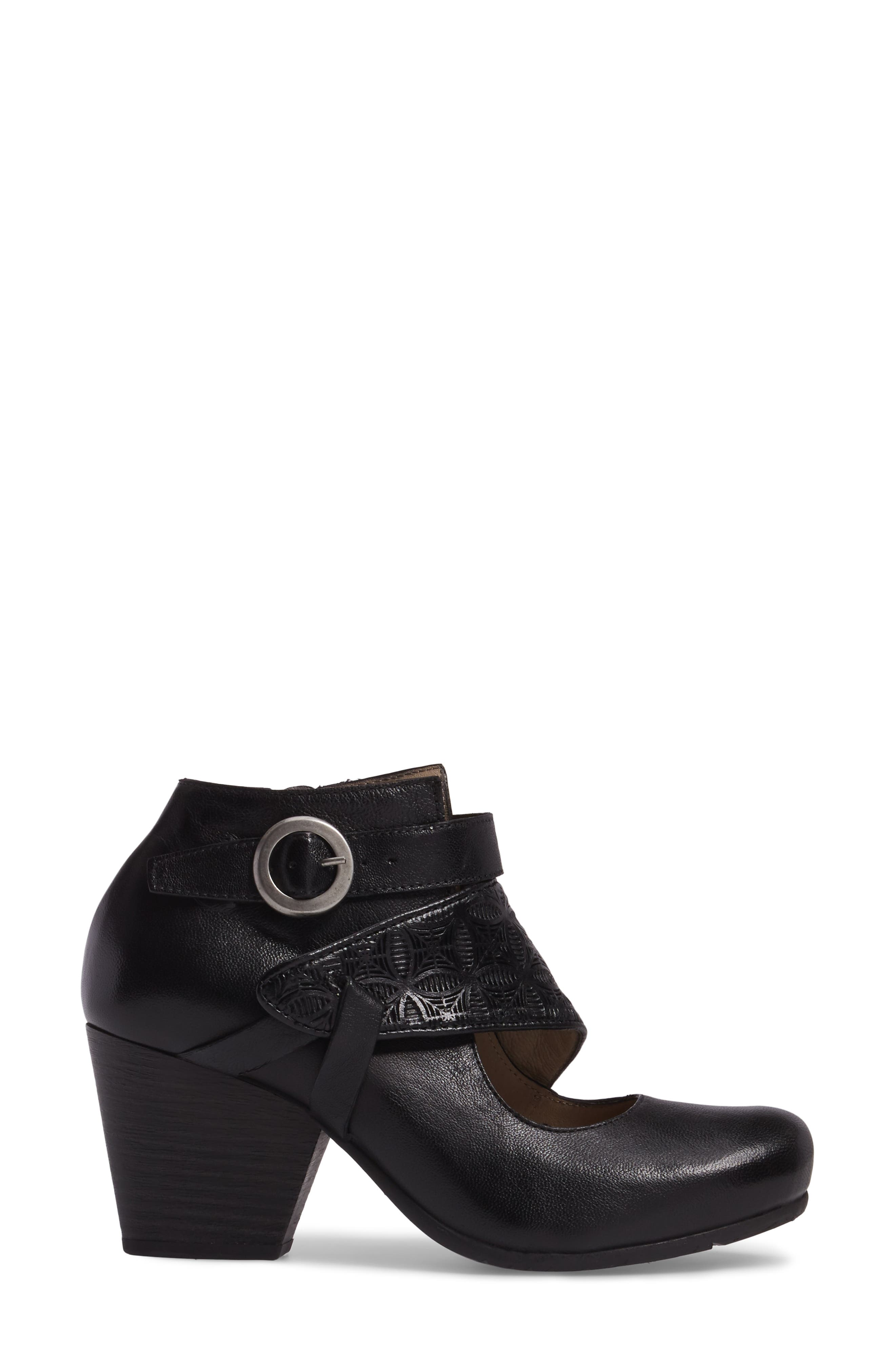 Dale Embossed Mary Jane Bootie,                             Alternate thumbnail 3, color,                             Black