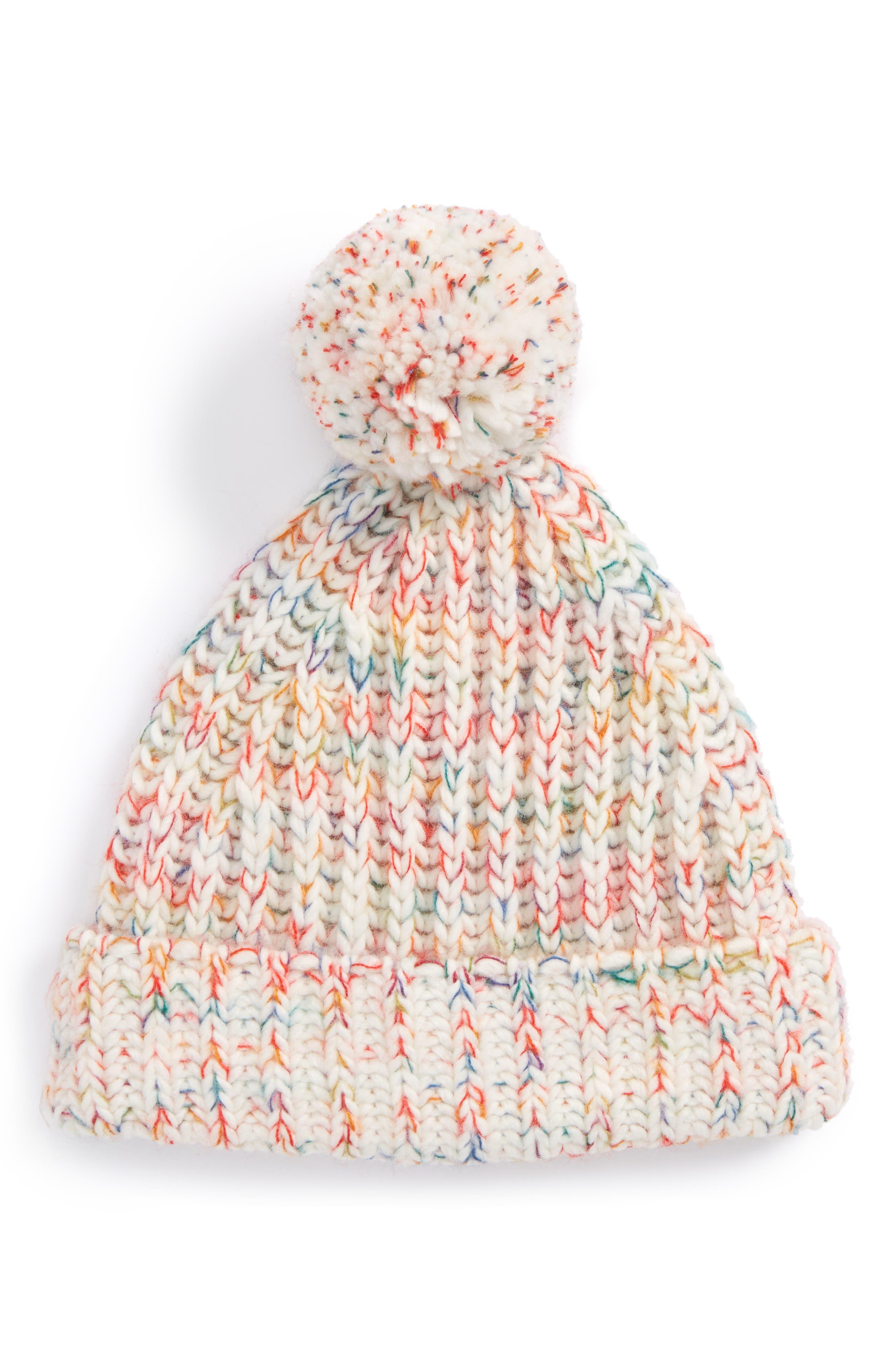 Rainbow Pompom Knit Hat,                         Main,                         color, Ivory Egret Multi