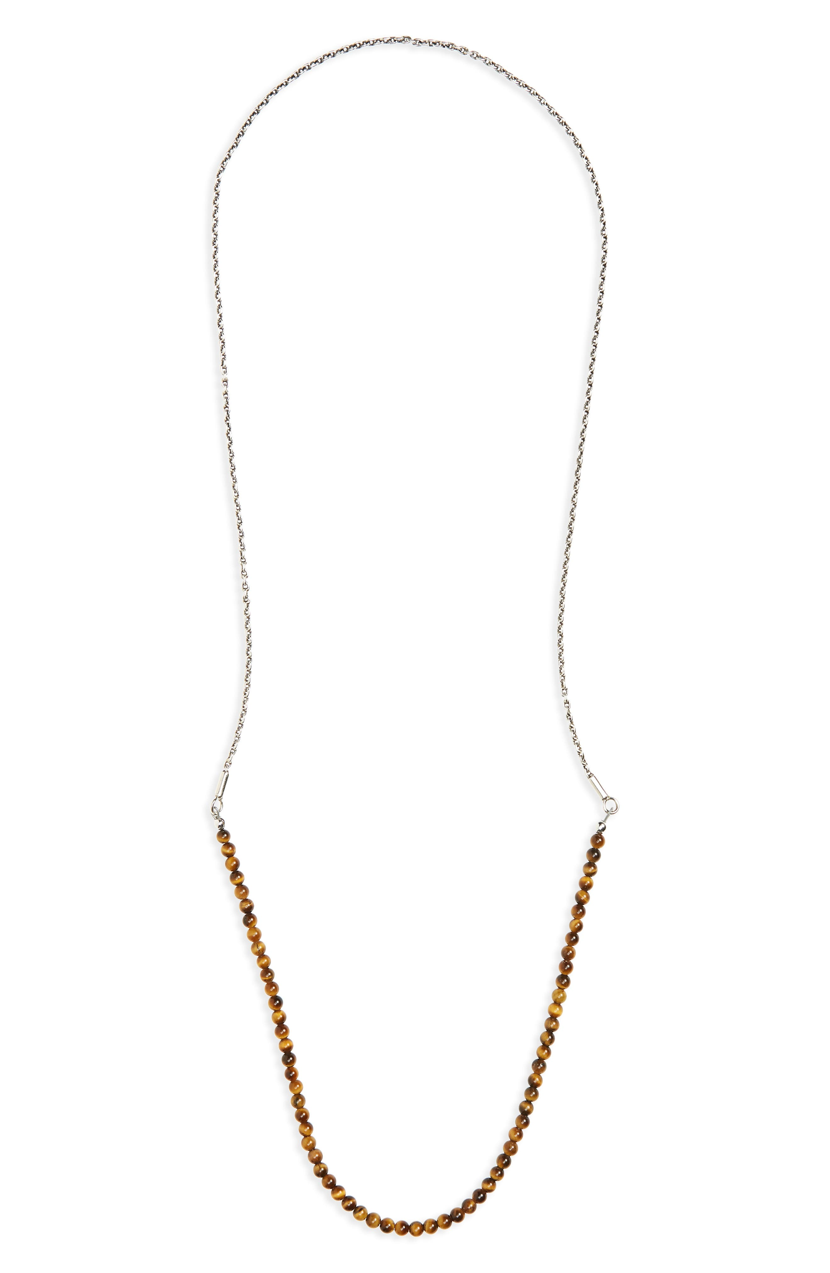 Stone & Sterling Silver Necklace,                             Main thumbnail 1, color,                             Tiger Eye