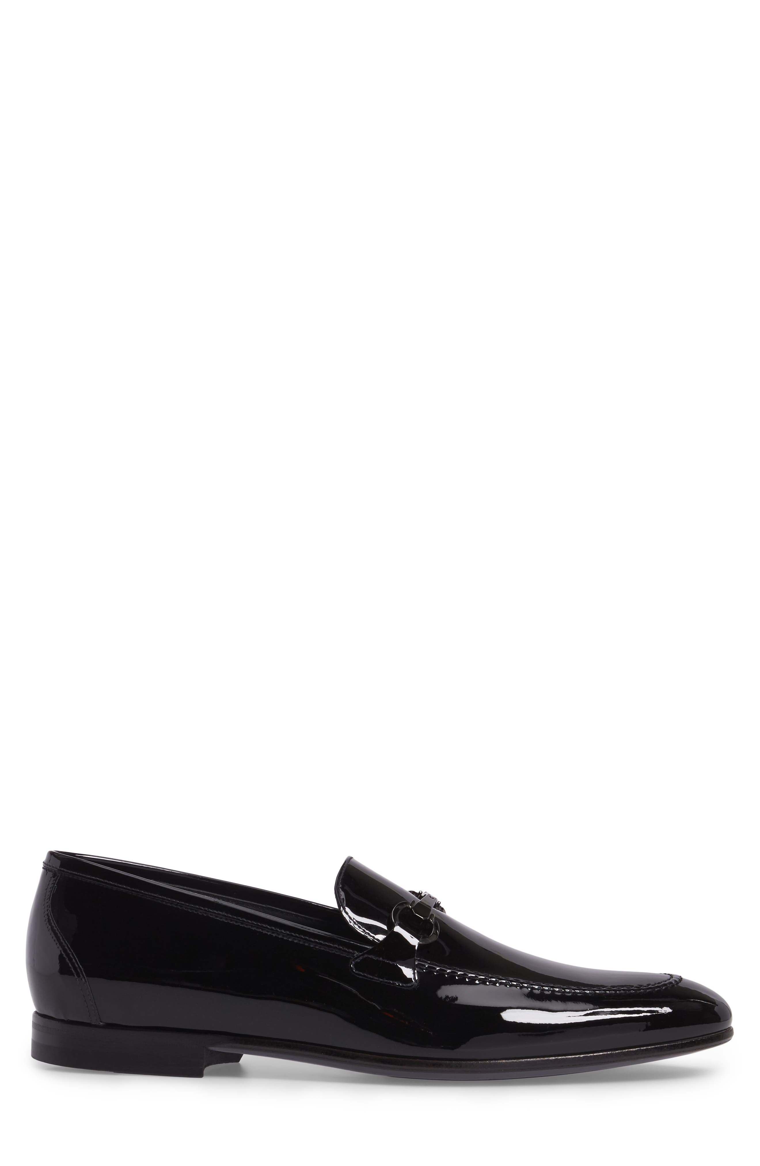 Brianza Bit Loafer,                             Alternate thumbnail 5, color,                             Black Patent Leather