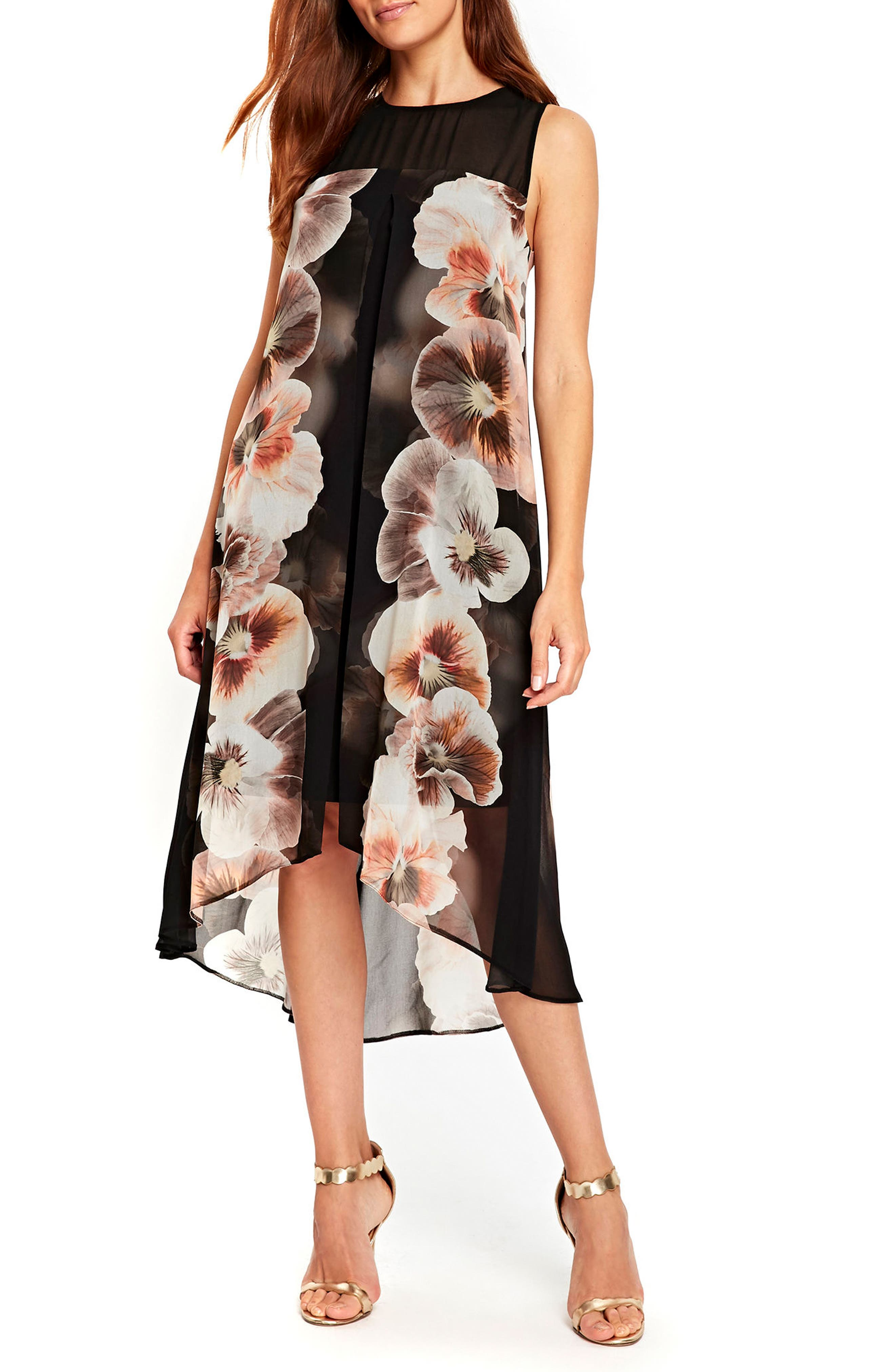 Pansy Split High/Low Overlay Dress,                         Main,                         color, Black