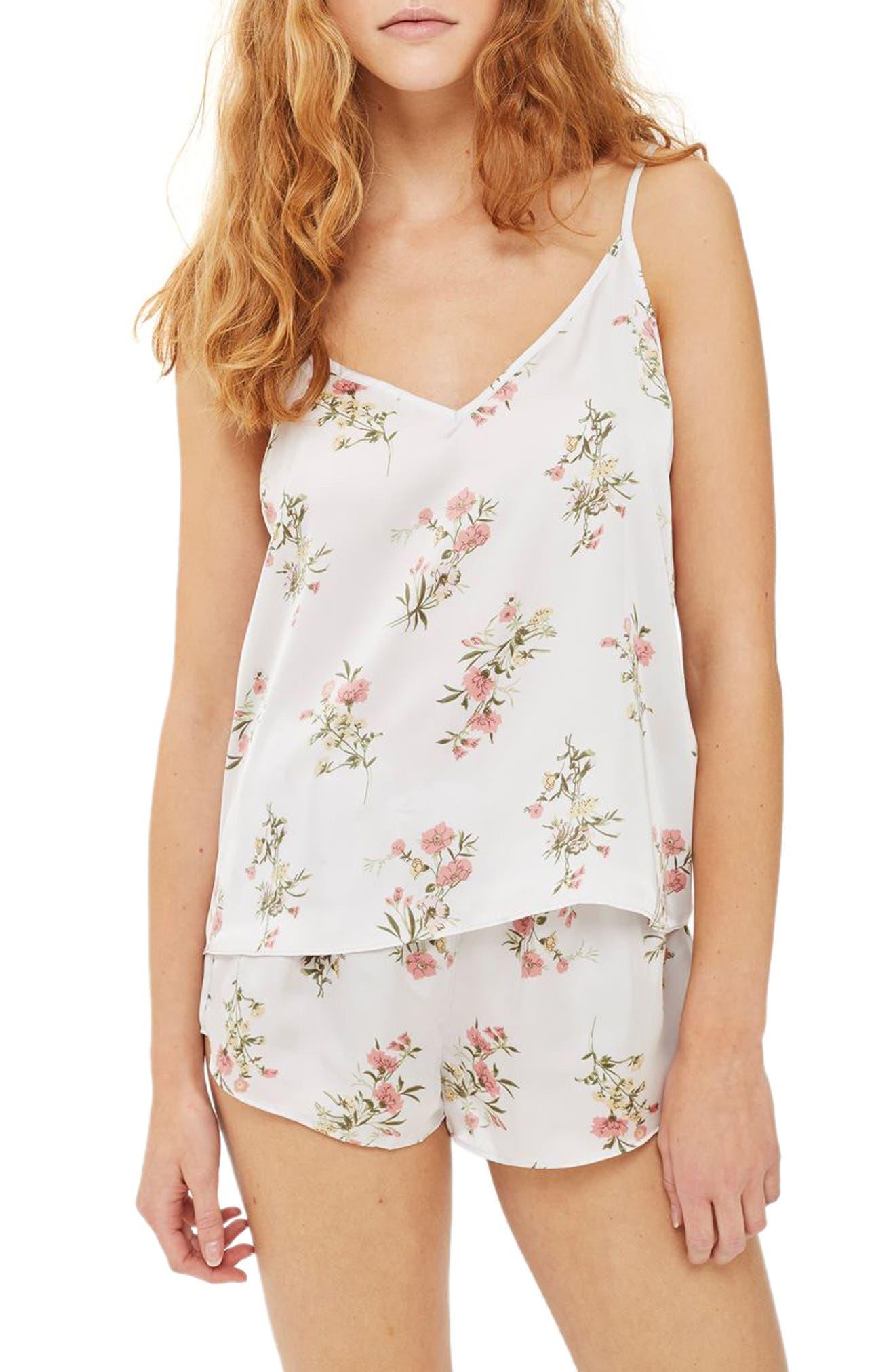 Garden Flower Camisole & Short Pajamas,                         Main,                         color, Ivory Mutli