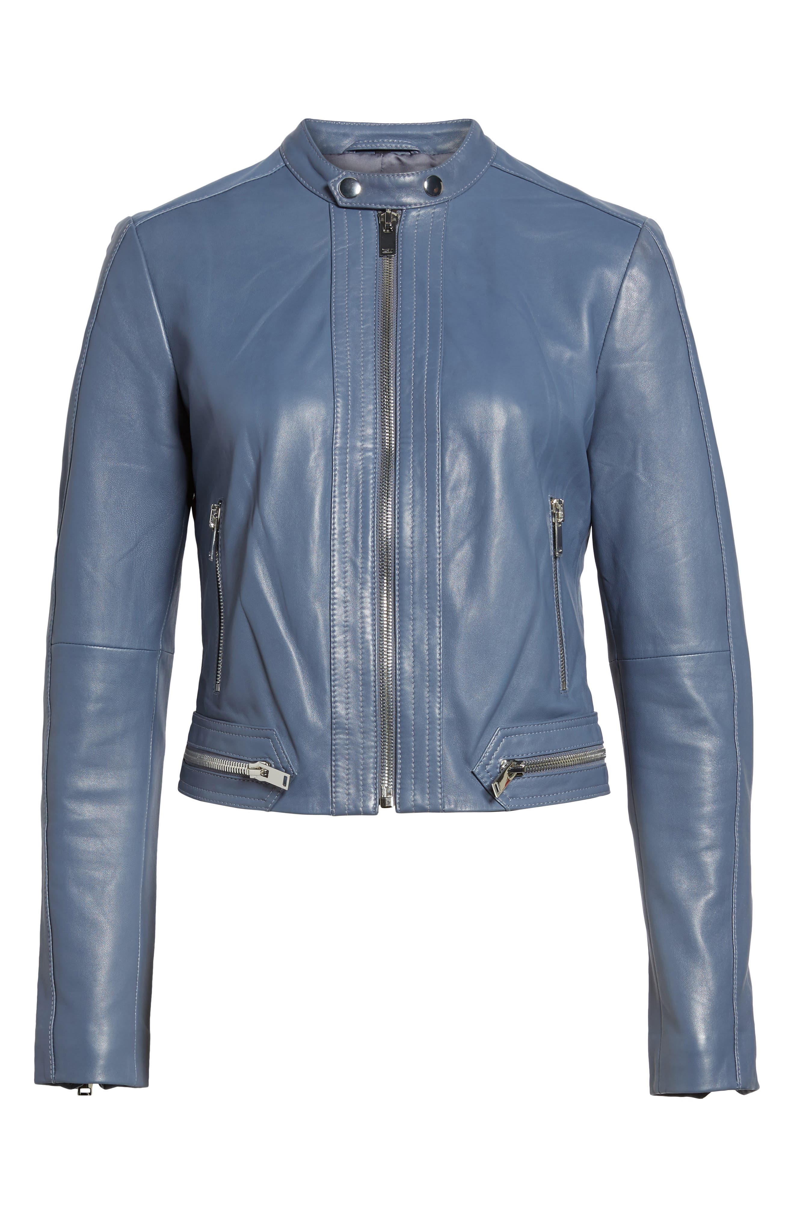 Leather Jacket,                             Alternate thumbnail 6, color,                             Grey Grisaille