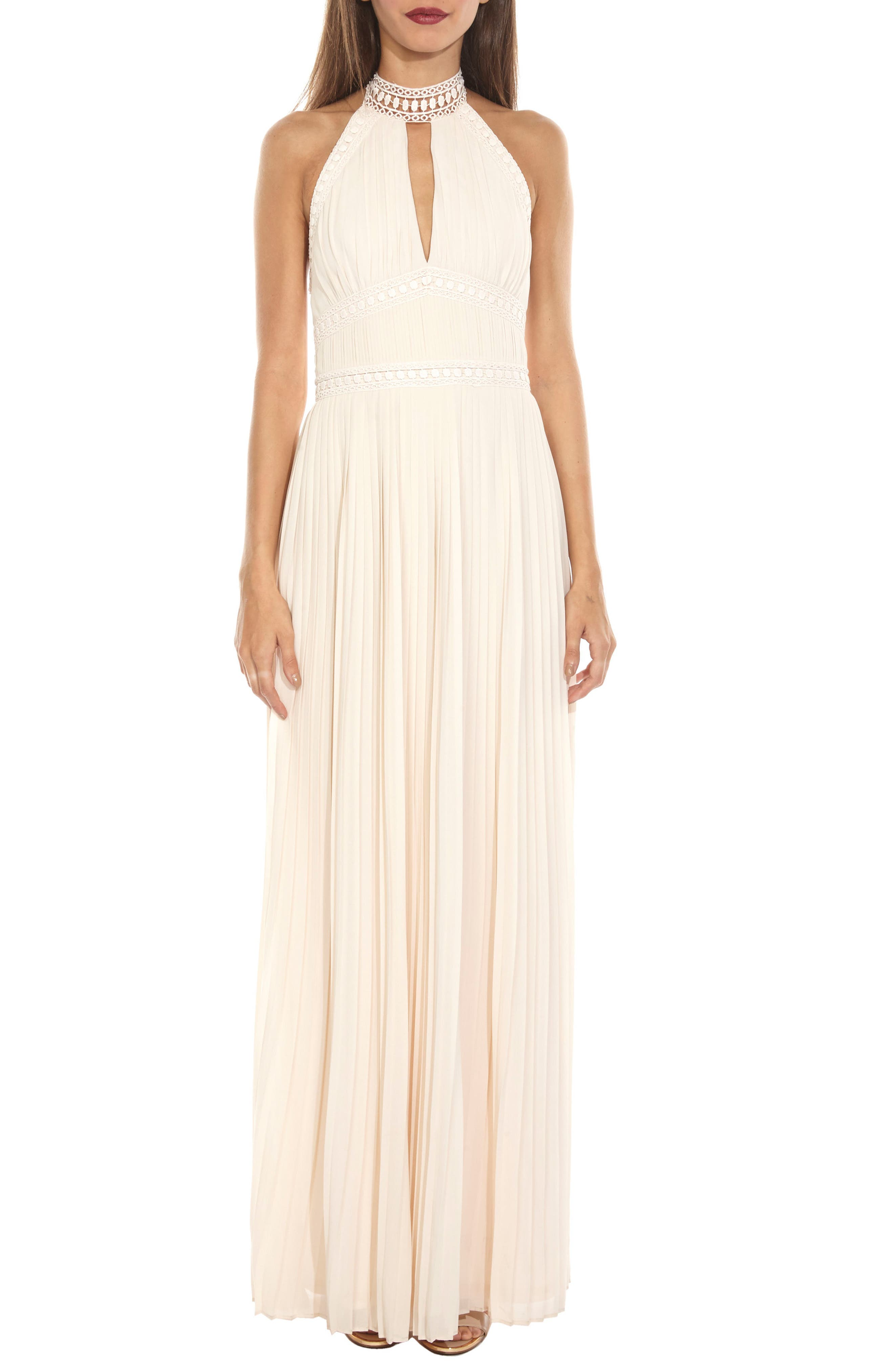 Corinne Lace Trim Halter Maxi Dress,                             Main thumbnail 1, color,                             Nude