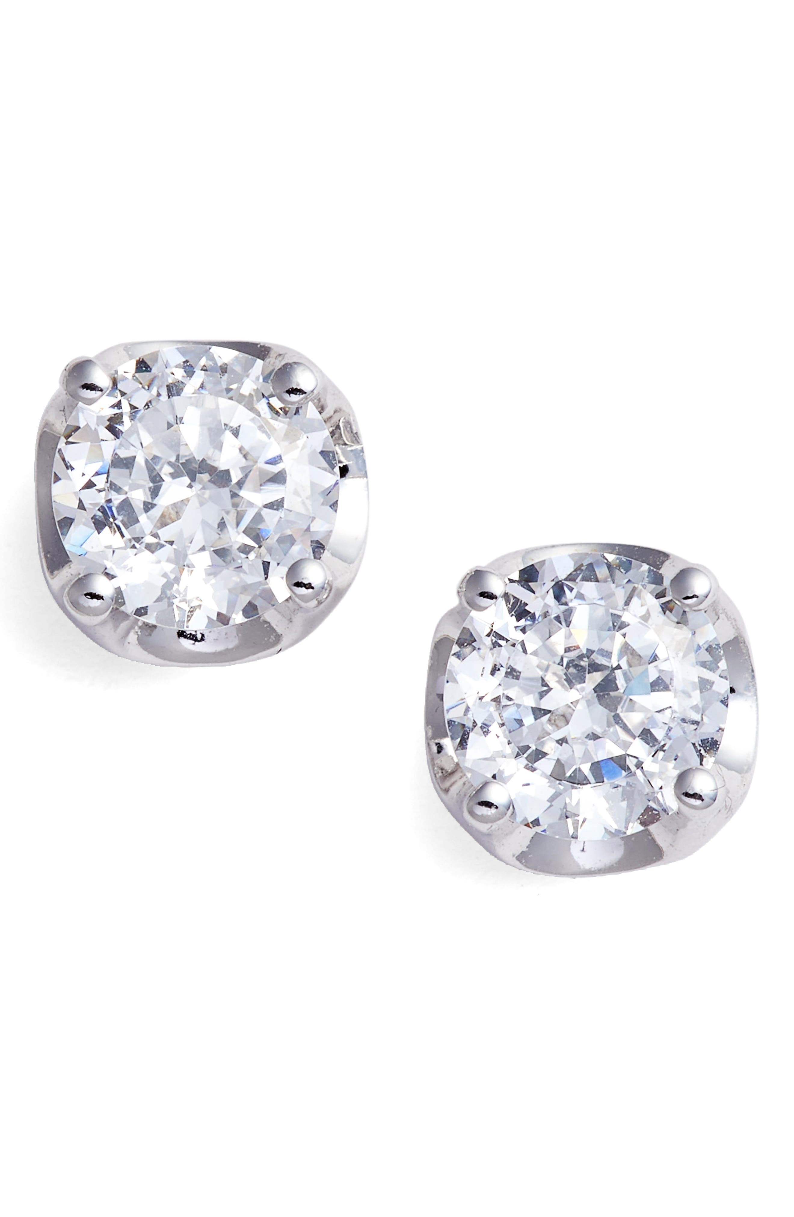 Simulated Diamond Earrings,                             Main thumbnail 1, color,                             Silver/ Clear
