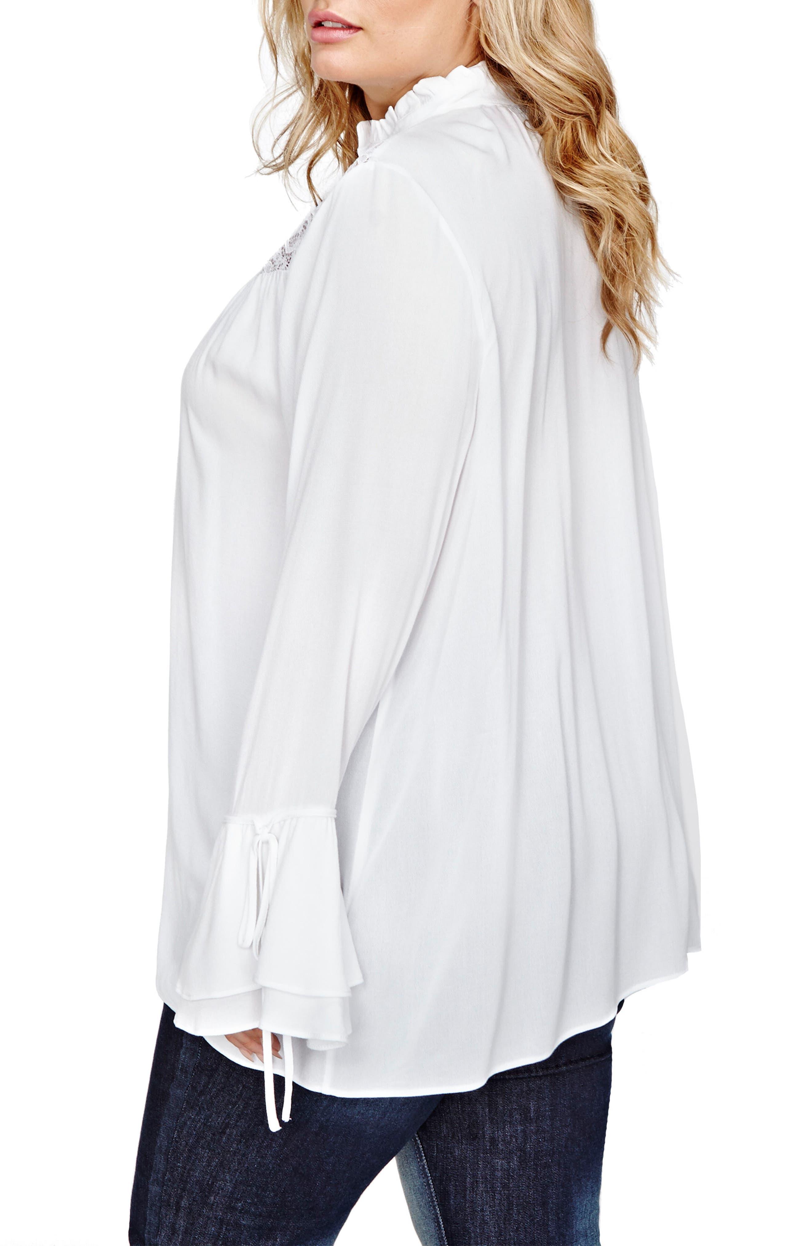 Alternate Image 2  - ADDITION ELLE LOVE AND LEGEND Jordyn Woods A-Line Lace Blouse (Plus Size)
