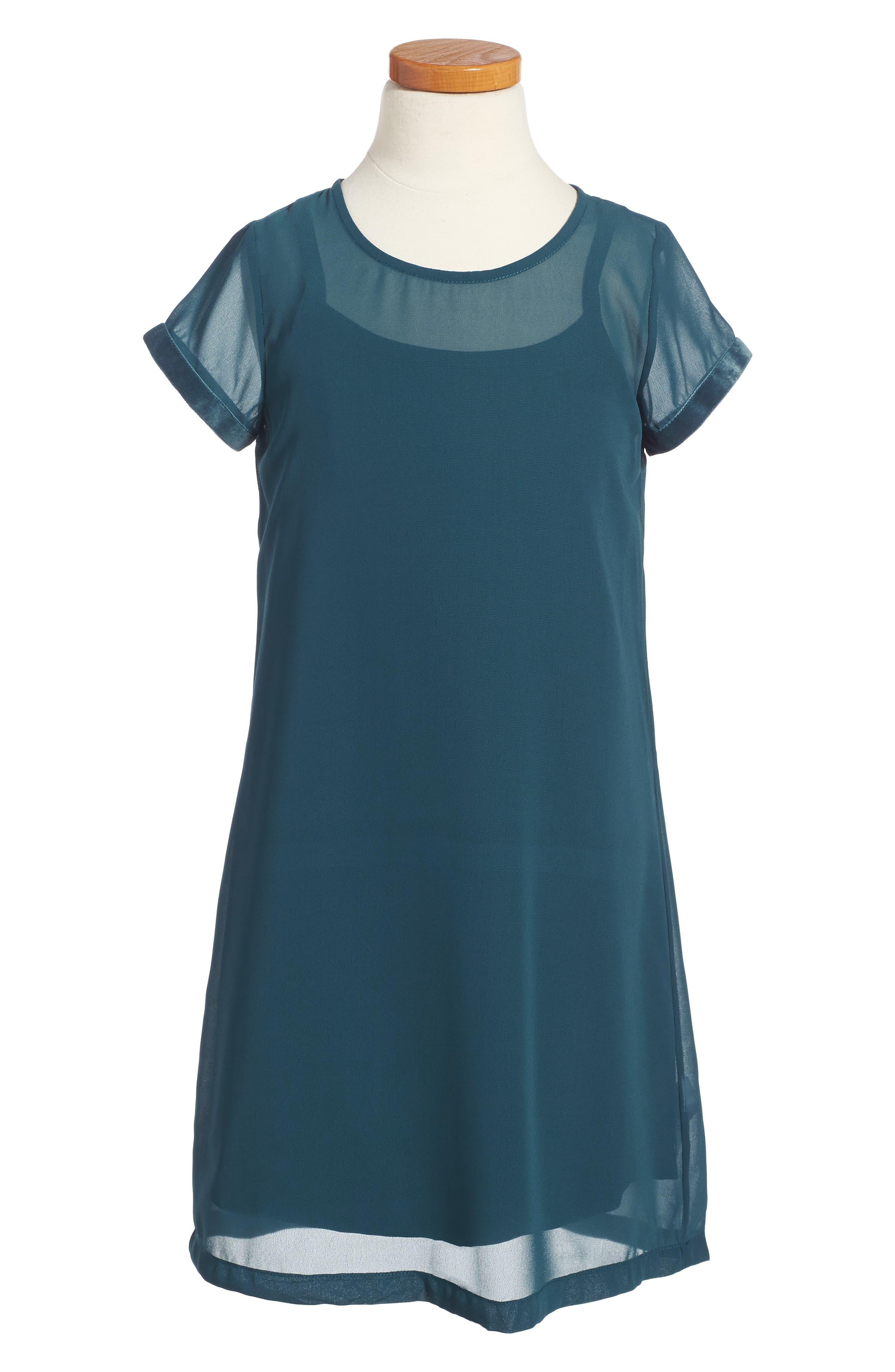 Slip Dress,                         Main,                         color, Blue Ceramic