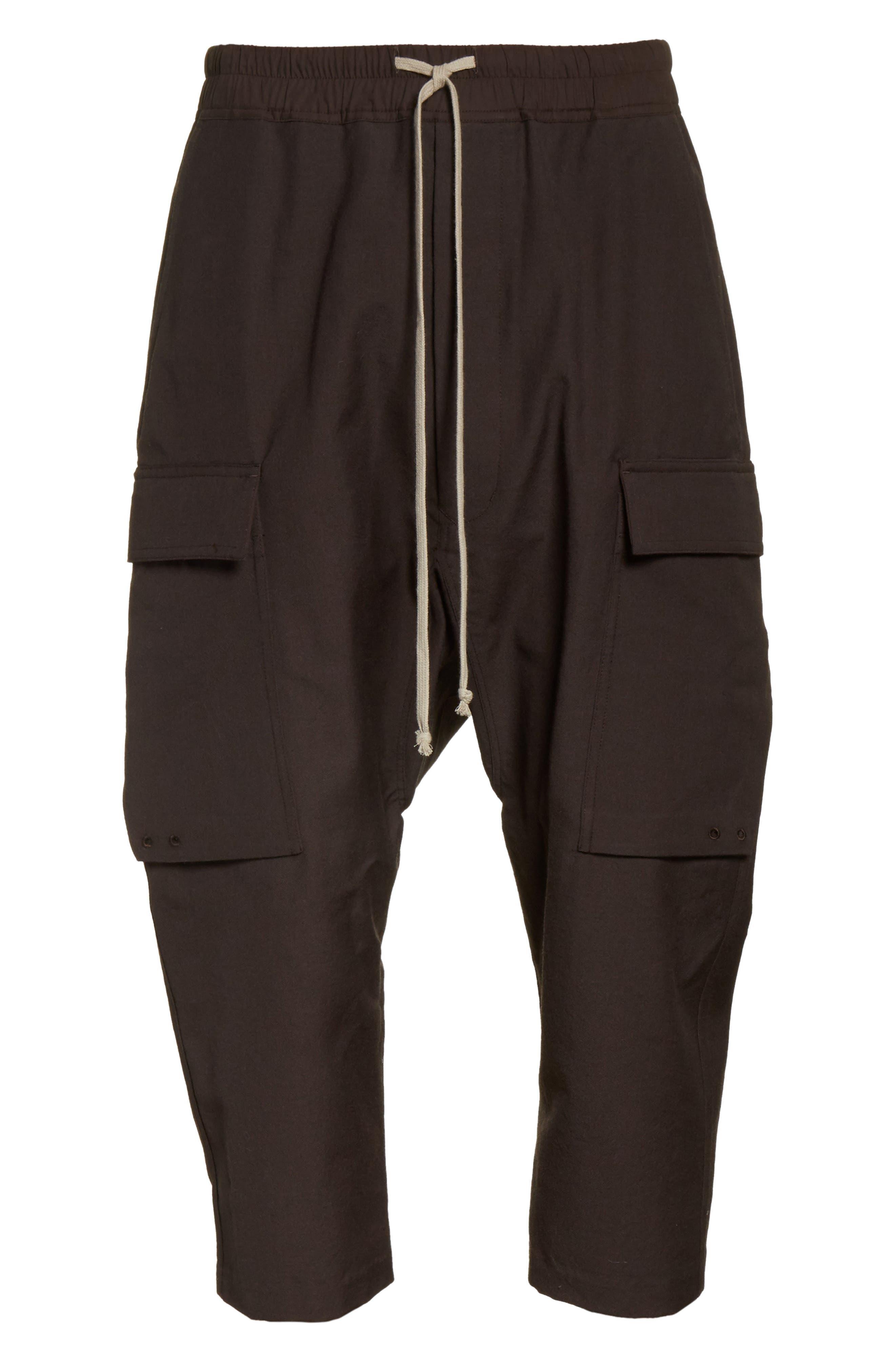 Cropped Drawstring Cargo Pants,                             Alternate thumbnail 6, color,                             Brown