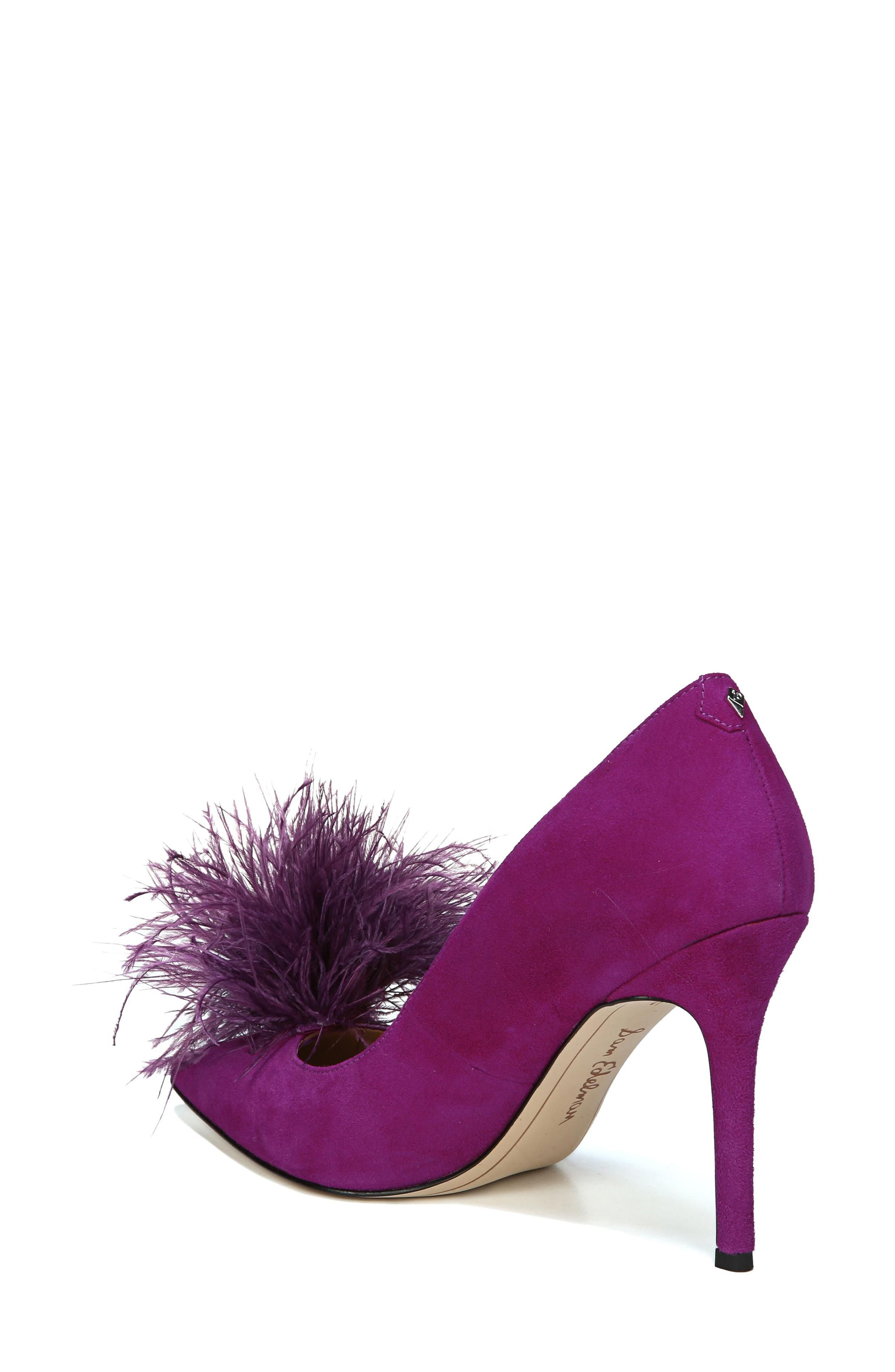 Haide Feather Pompom Pump,                             Alternate thumbnail 2, color,                             Laser Purple Leather