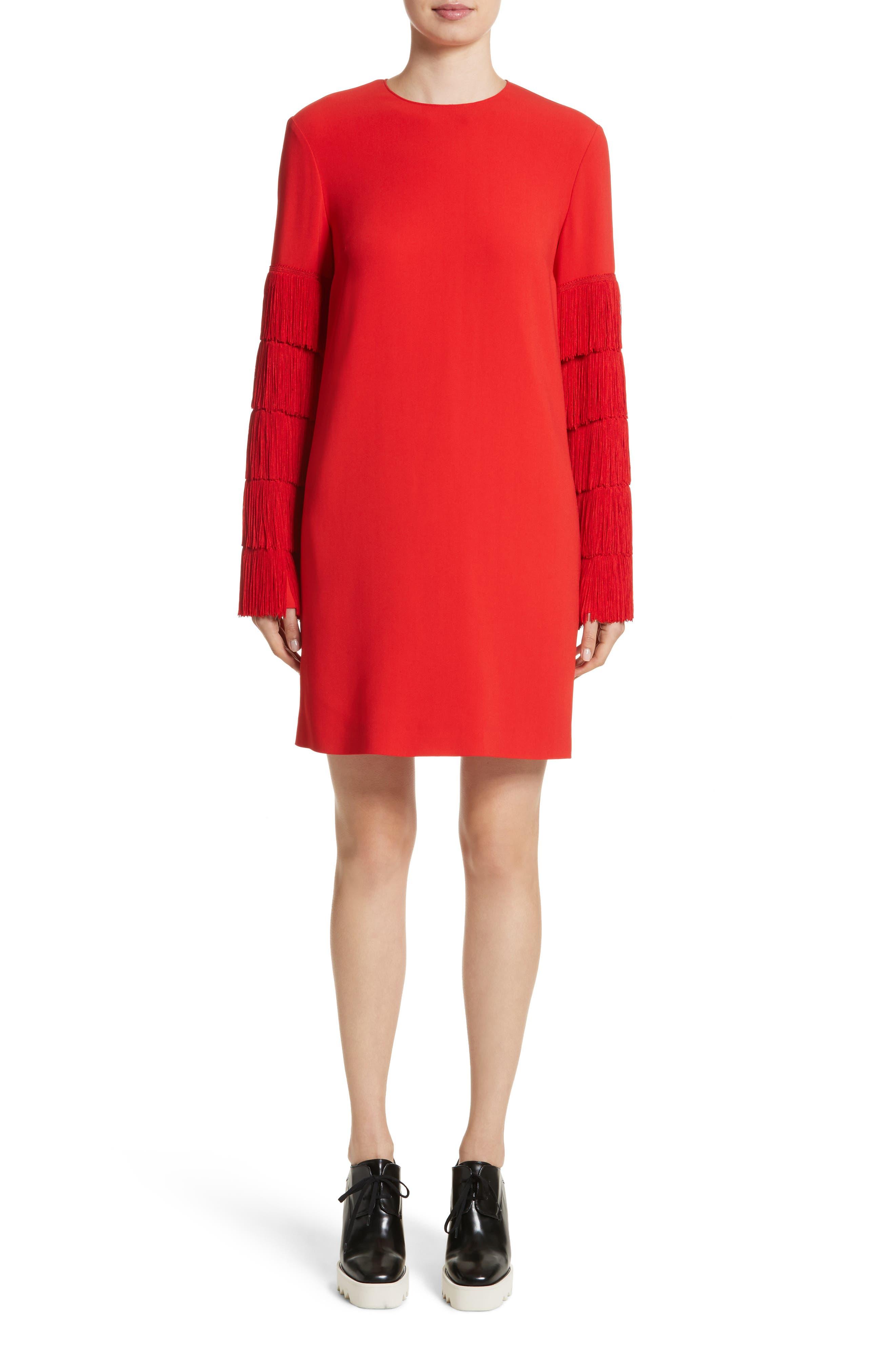 Fringe Sleeve Stretch Cady Dress,                         Main,                         color, Lipstick