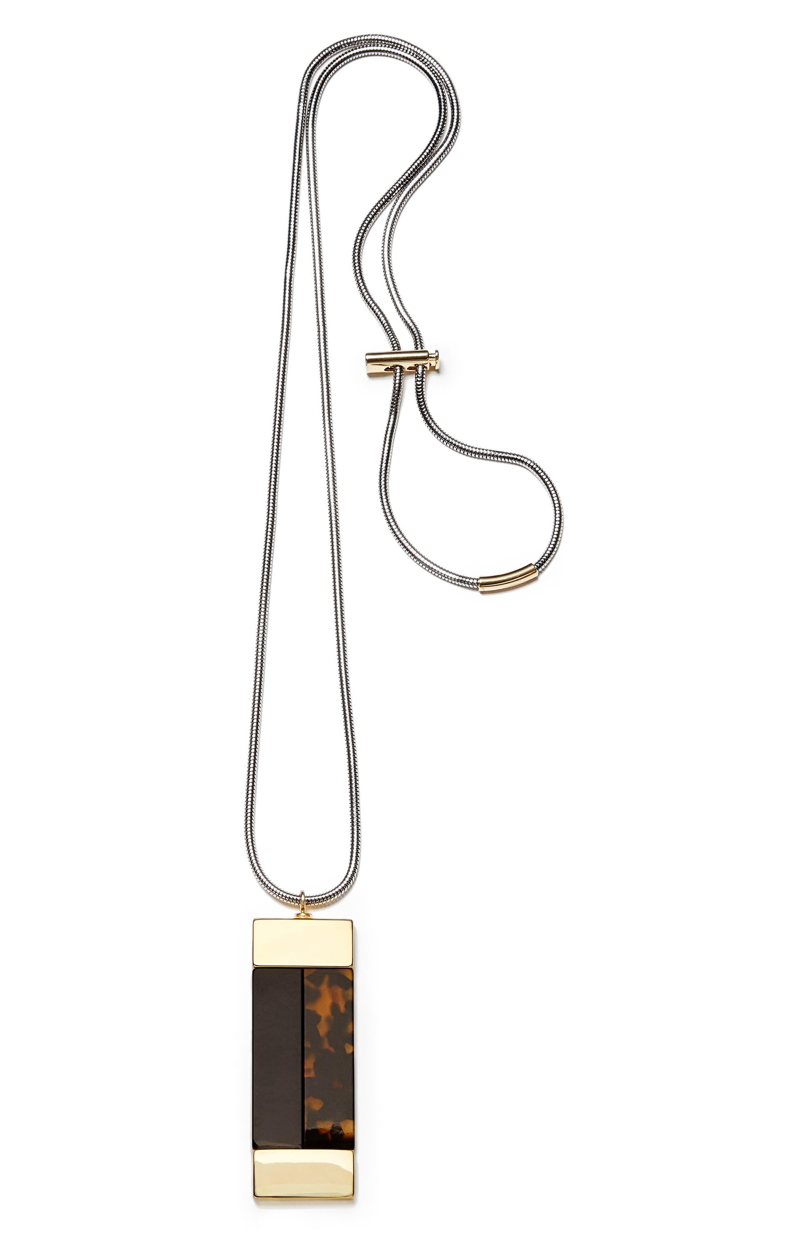 Drop Pendant Necklace,                         Main,                         color, Tortoise/ Black