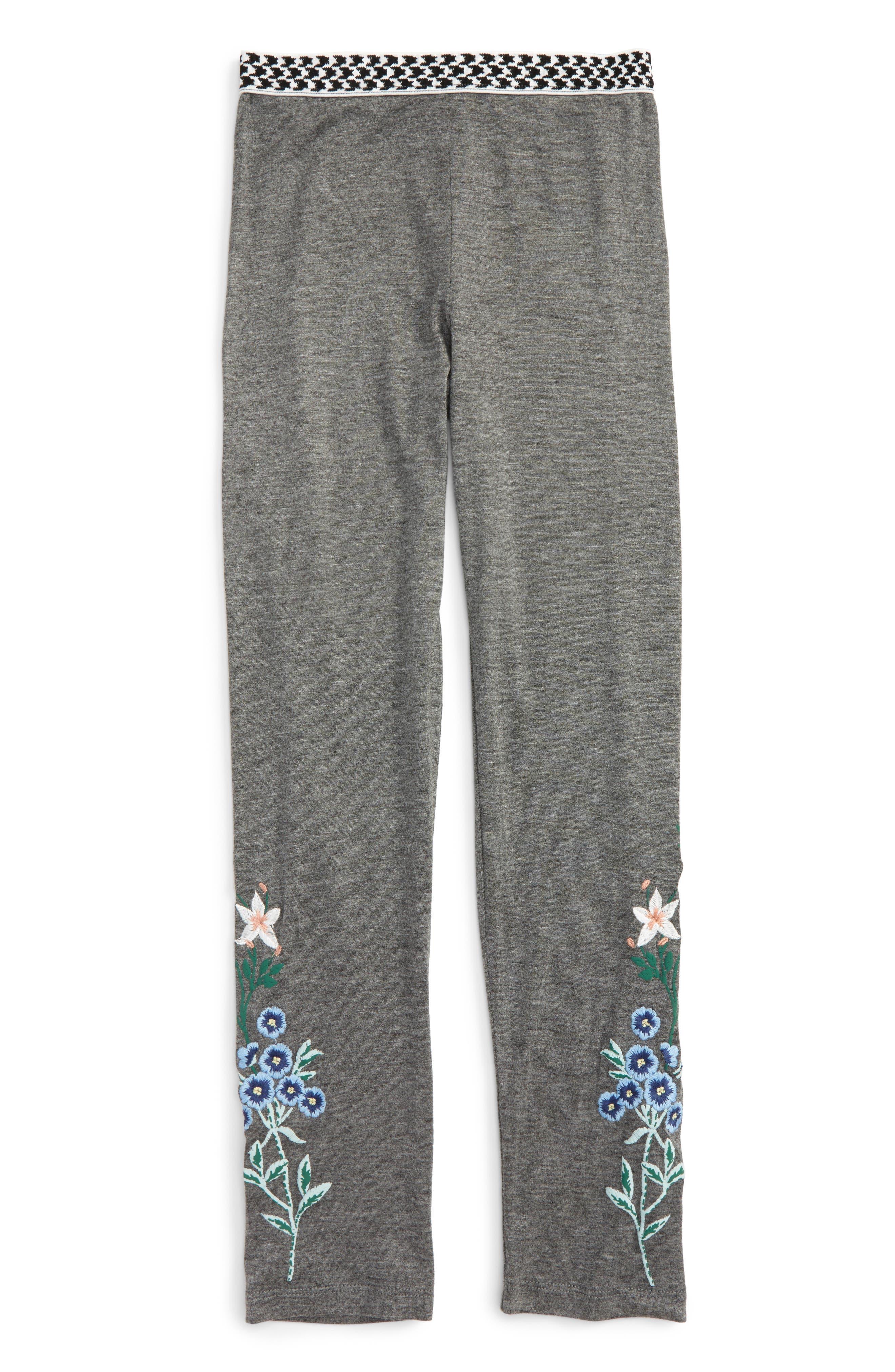 Embroidered Leggings,                             Main thumbnail 1, color,                             Dark Grey