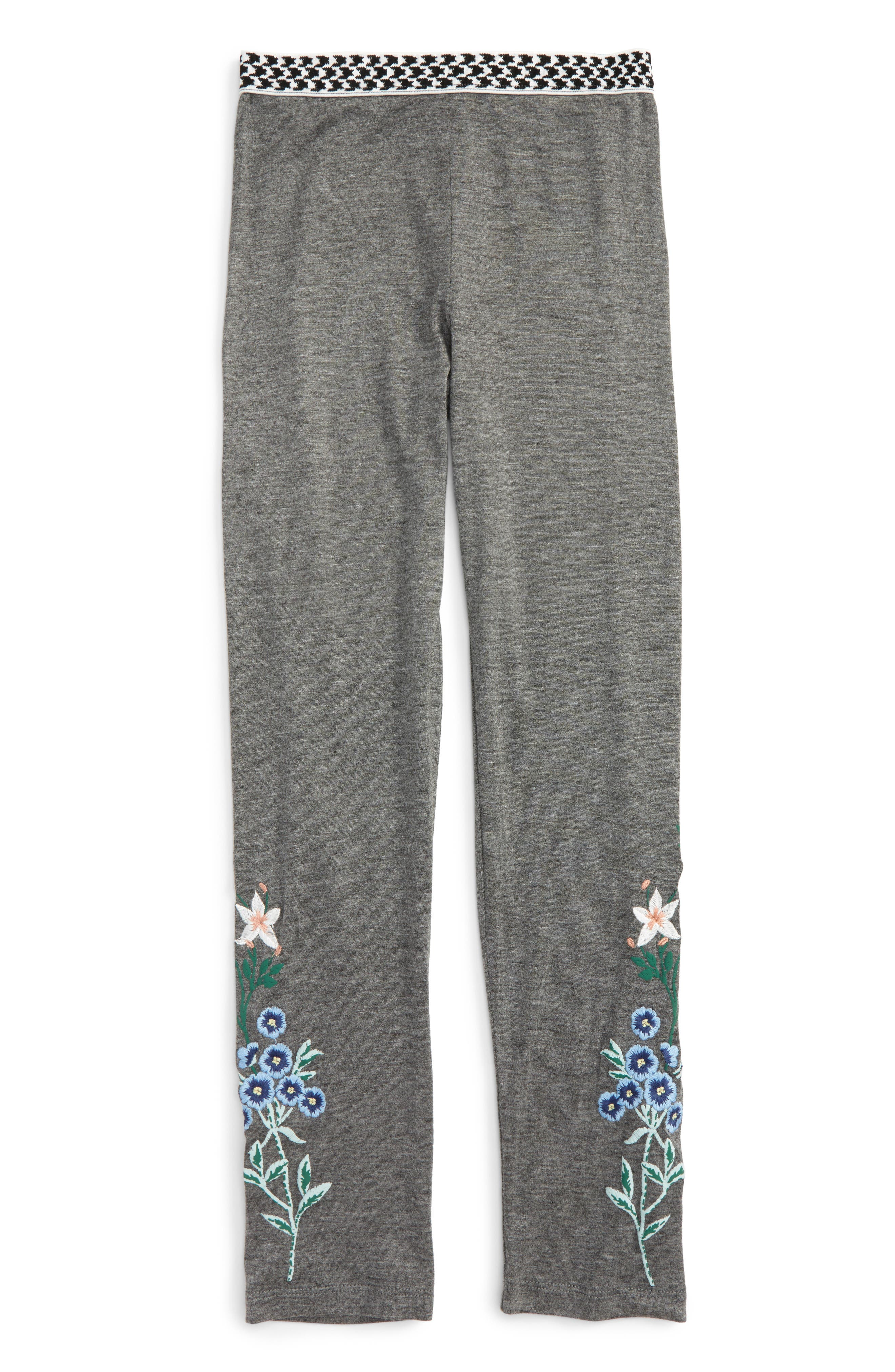 Embroidered Leggings,                         Main,                         color, Dark Grey