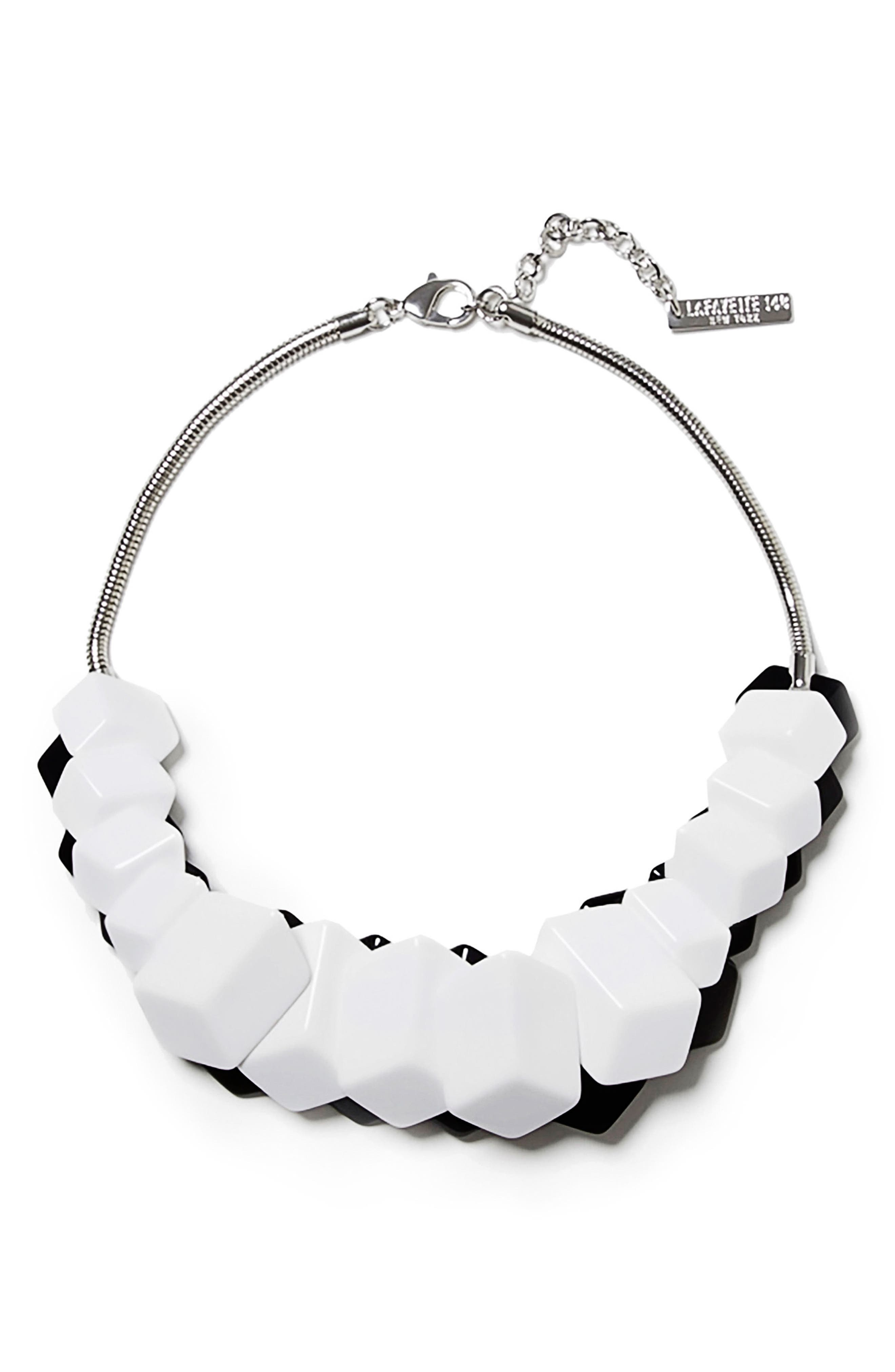 Cubist Reversible Statement Necklace,                         Main,                         color, Black/ White