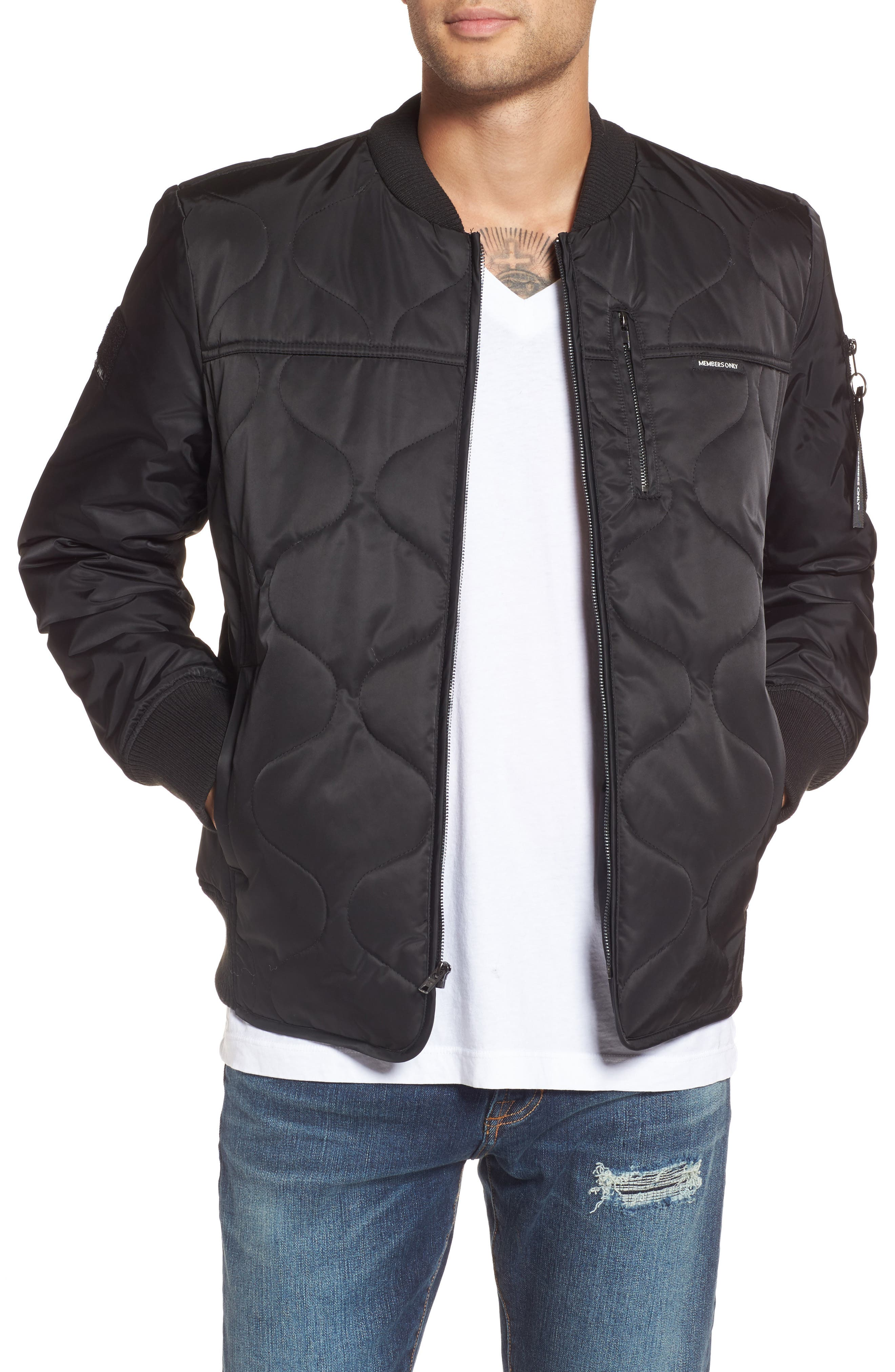 Quilted Bomber Jacket,                             Main thumbnail 1, color,                             Black