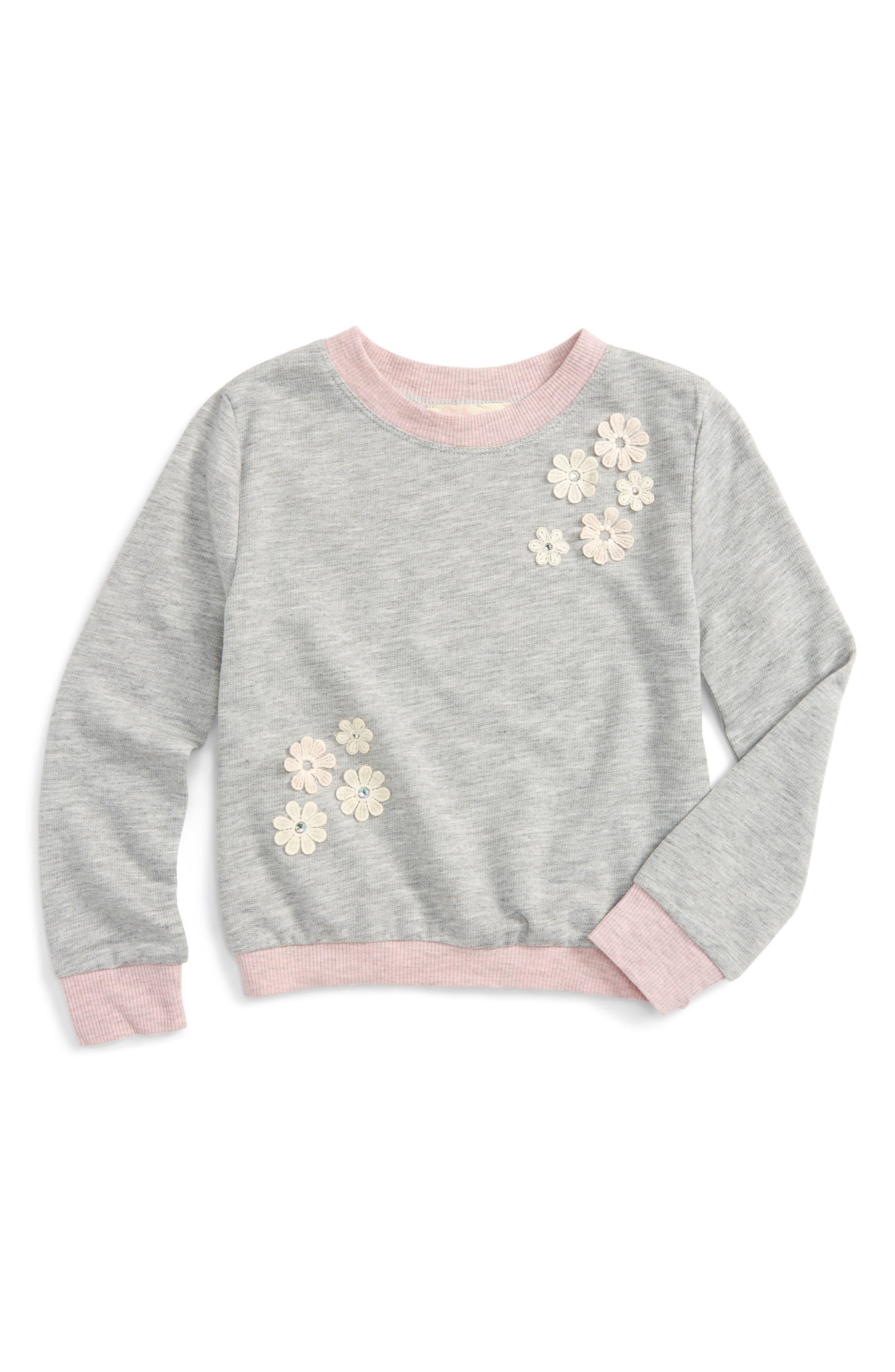 Floral Appliqué Sweatshirt,                         Main,                         color, Light Grey