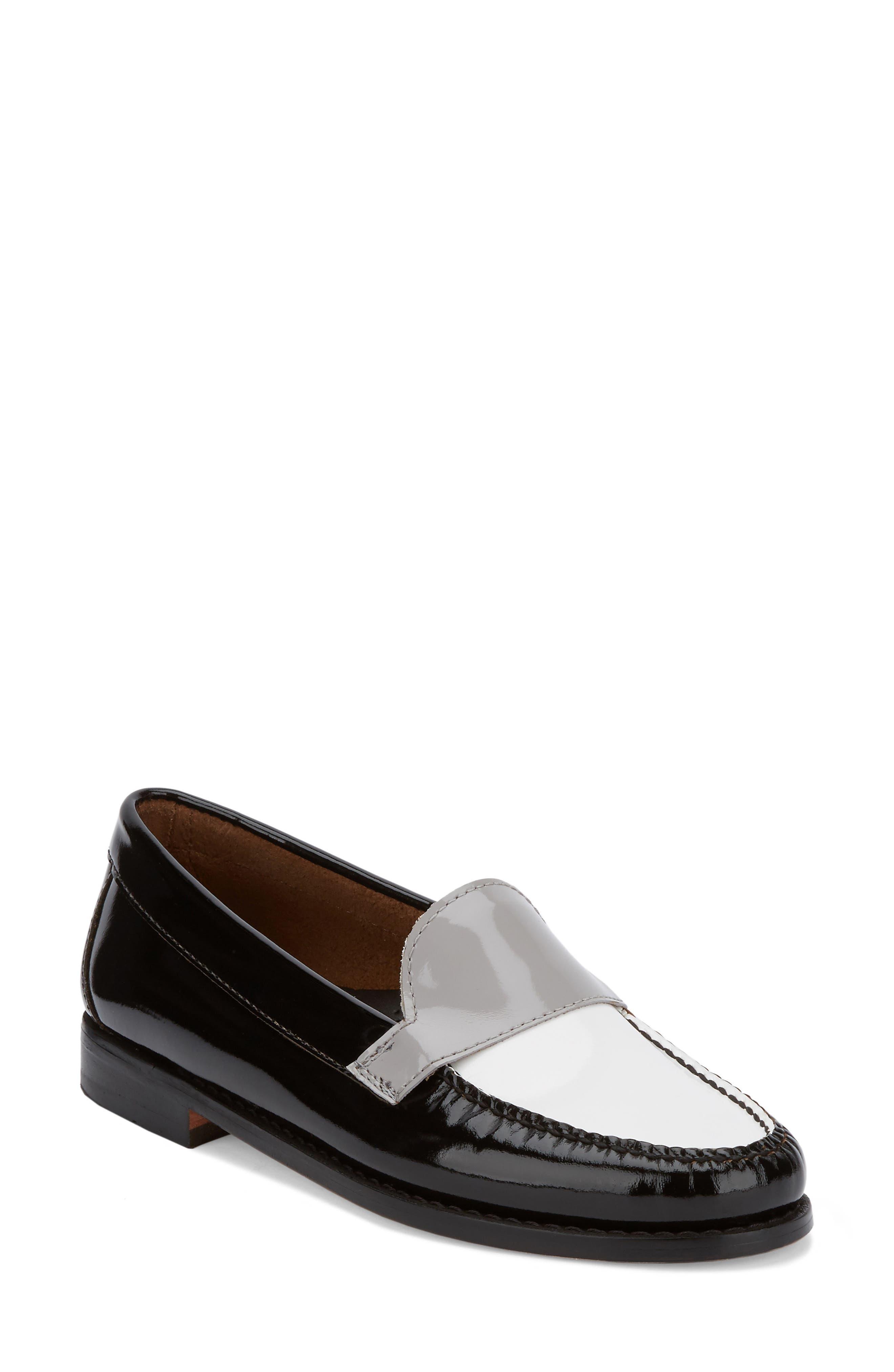 Wylie Loafer,                             Main thumbnail 1, color,                             Black/ White/ Grey Patent