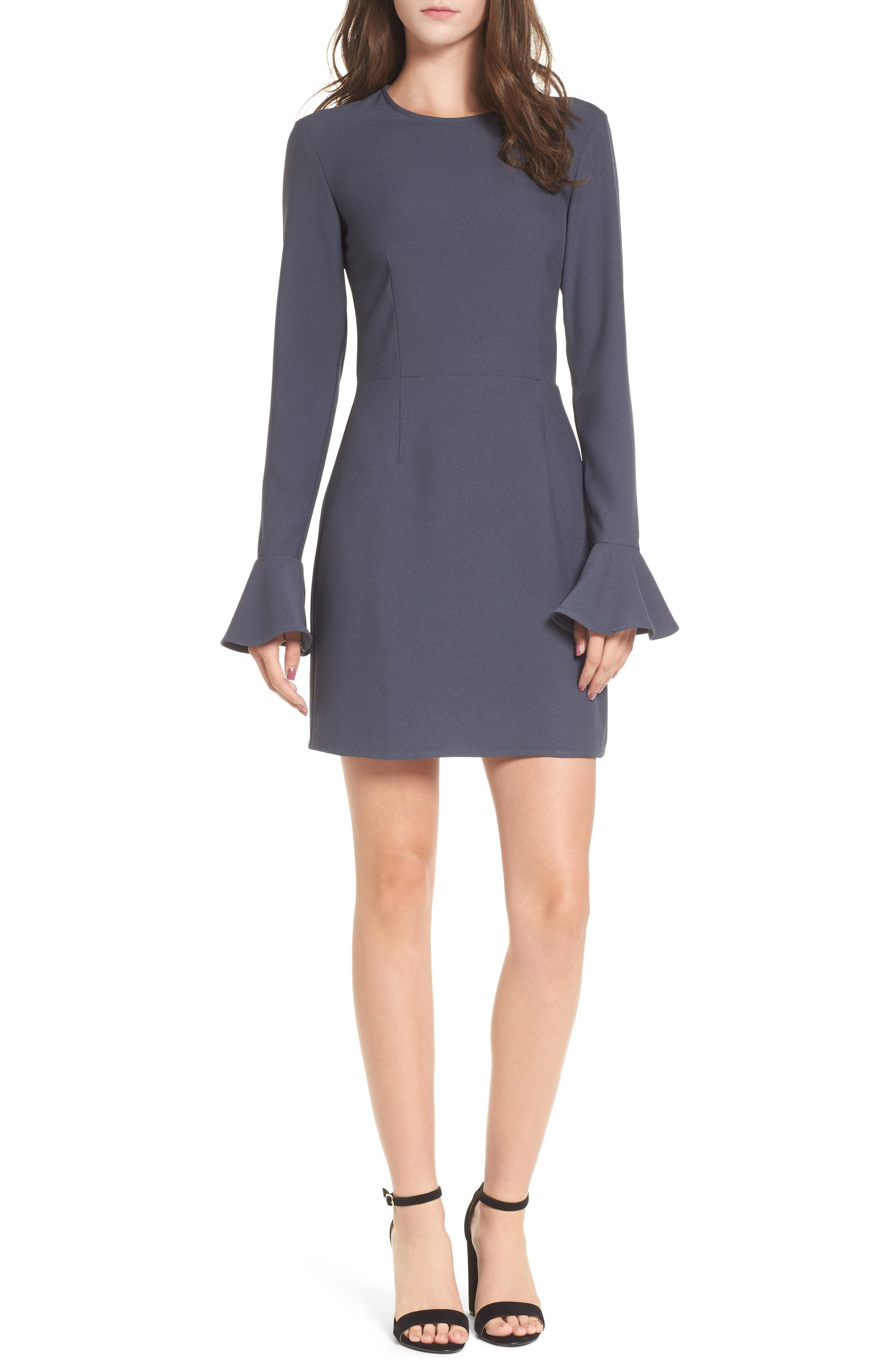 Bell Sleeve Sheath Dress,                         Main,                         color, Navy India Ink