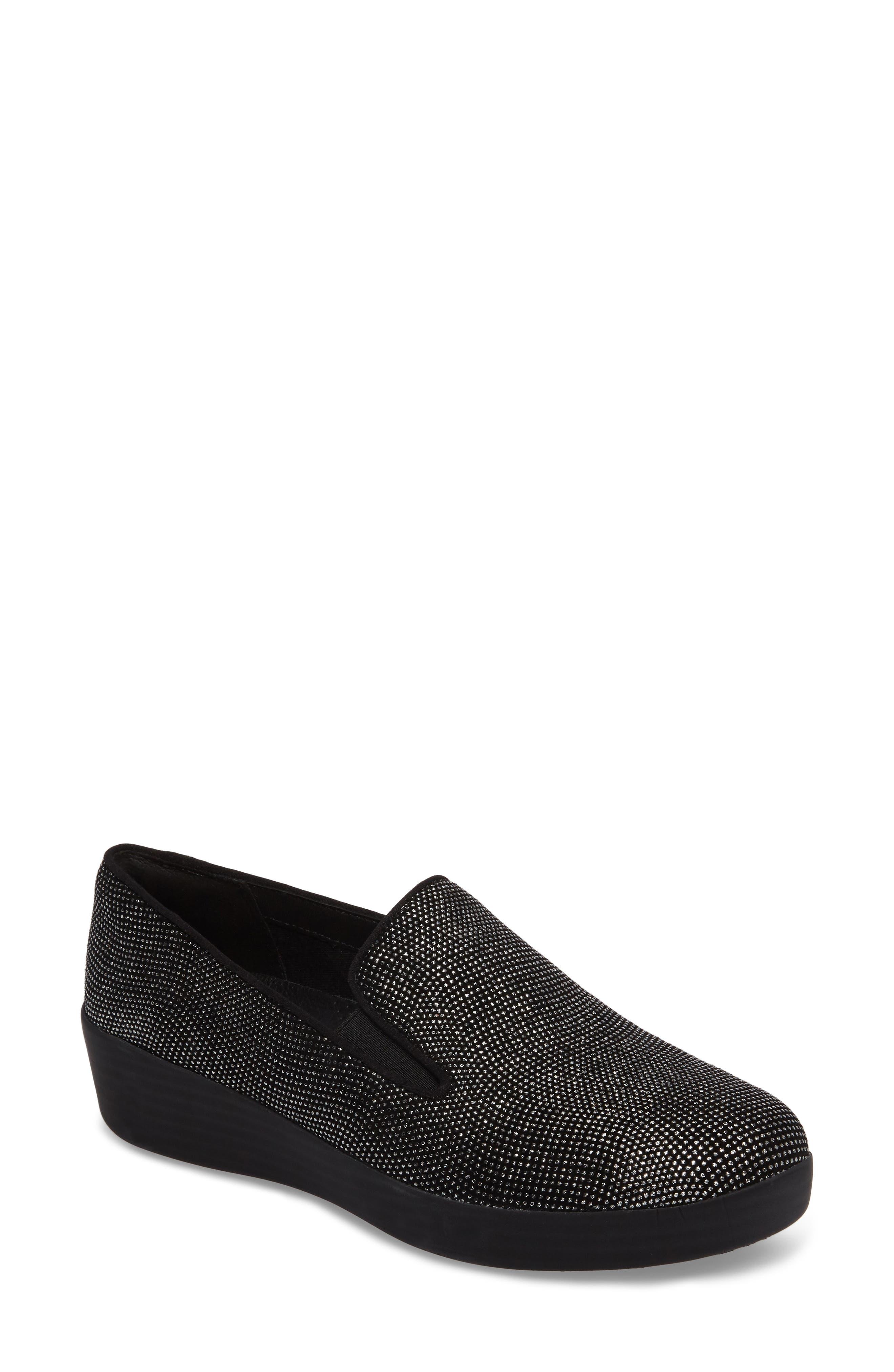 Superskate Glitter Dot Slip-On Sneaker,                             Main thumbnail 1, color,                             Black Glimmer Suede