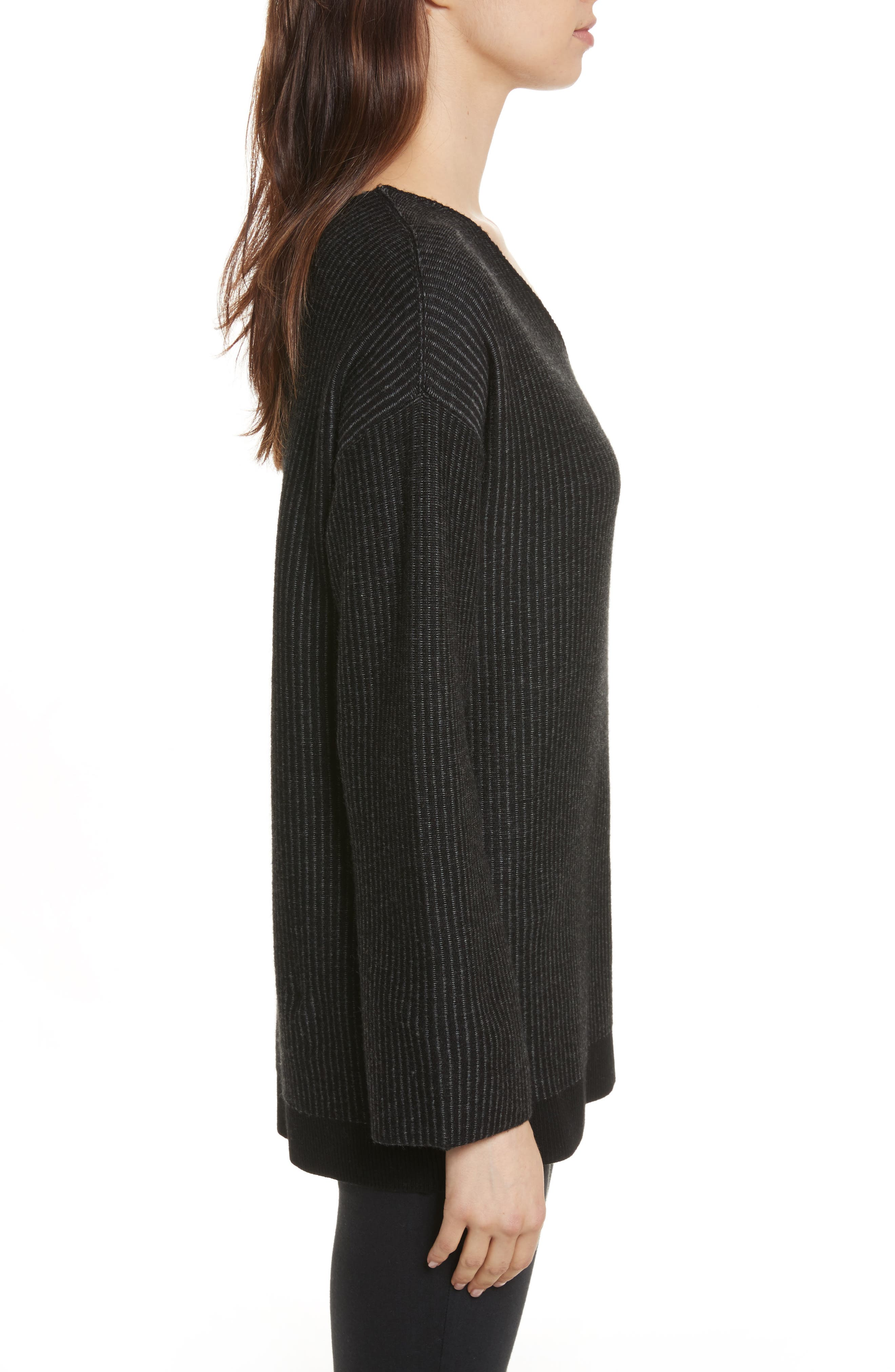 Cotton Blend Sweater,                             Alternate thumbnail 3, color,                             Foggy/ Chalk