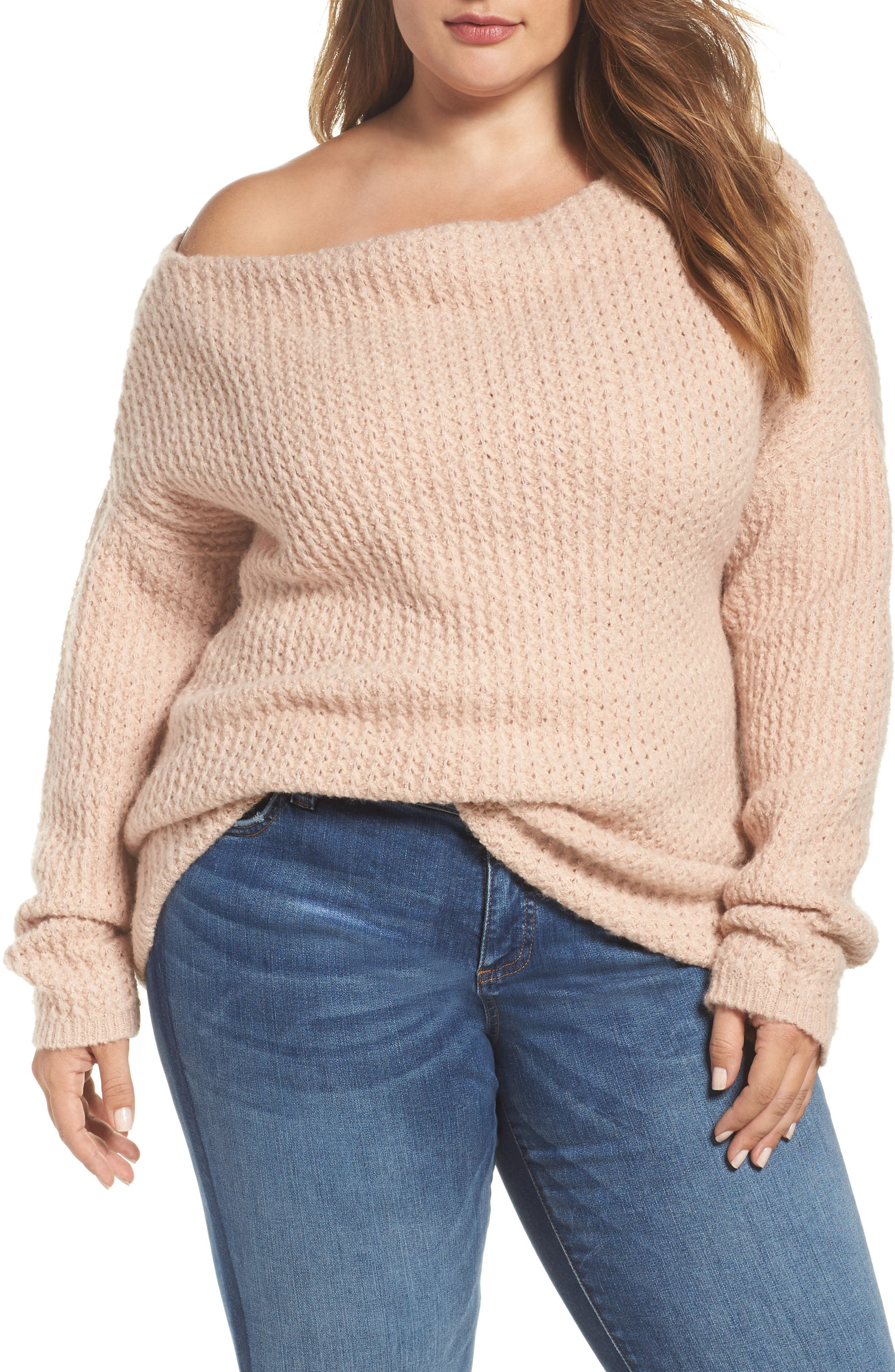 Off the Shoulder Sweater,                         Main,                         color, Blossom