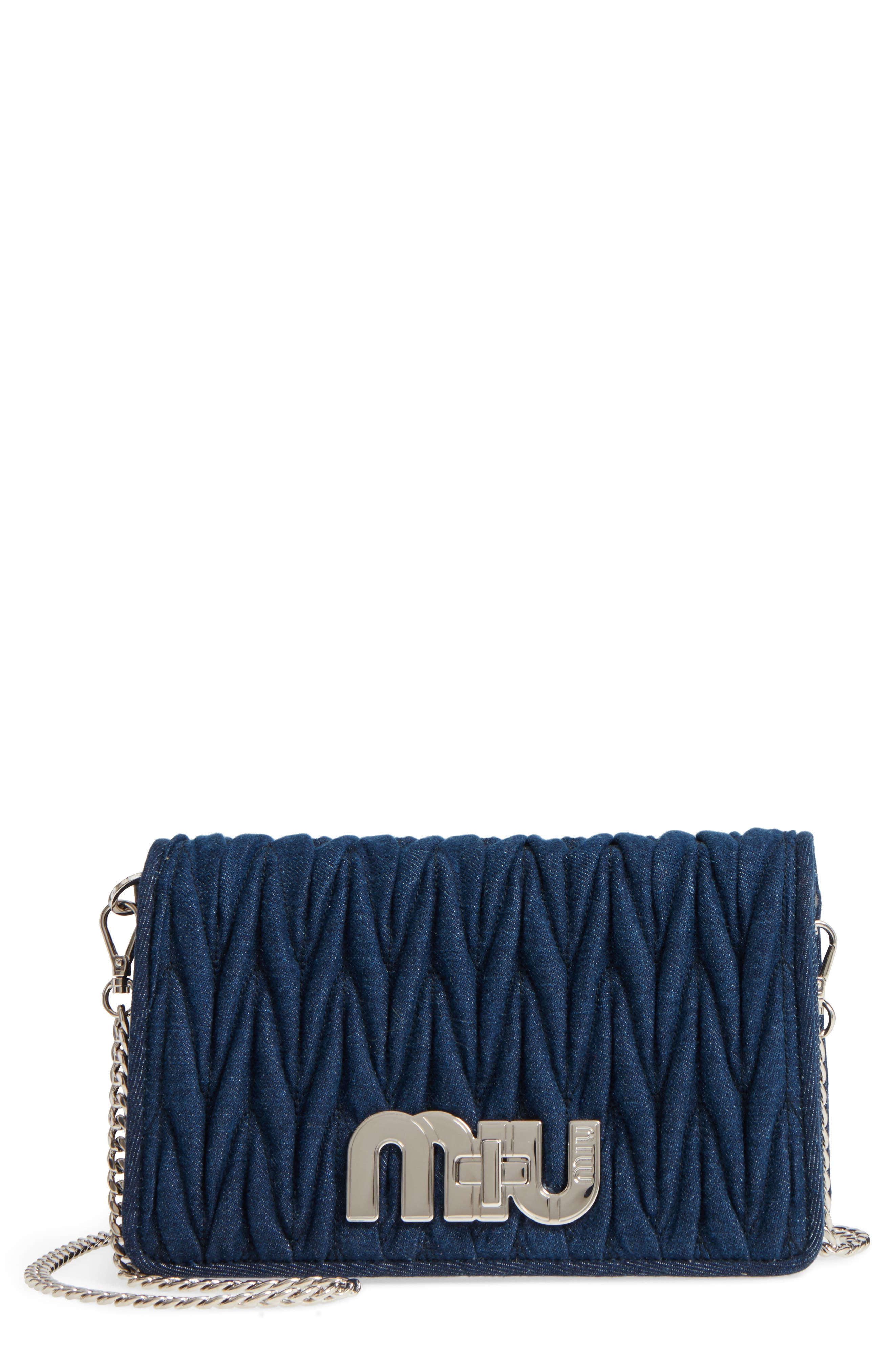 Matelassé Denim Crossbody Clutch,                             Main thumbnail 1, color,                             Bleu