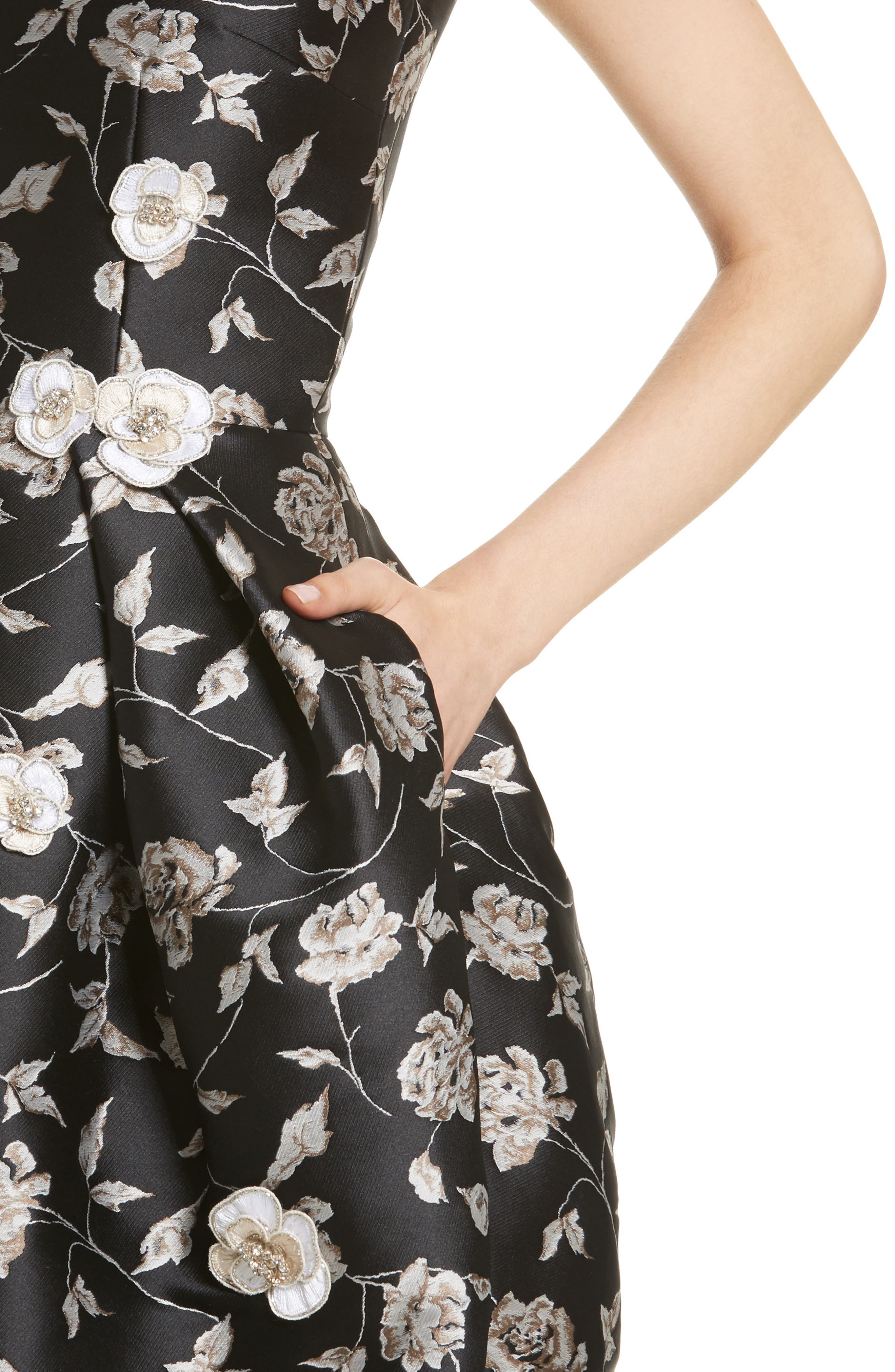Carmen Marc Valvo Embellished Appliqué Floral Jacquard Cocktail Dress,                             Alternate thumbnail 4, color,                             Black