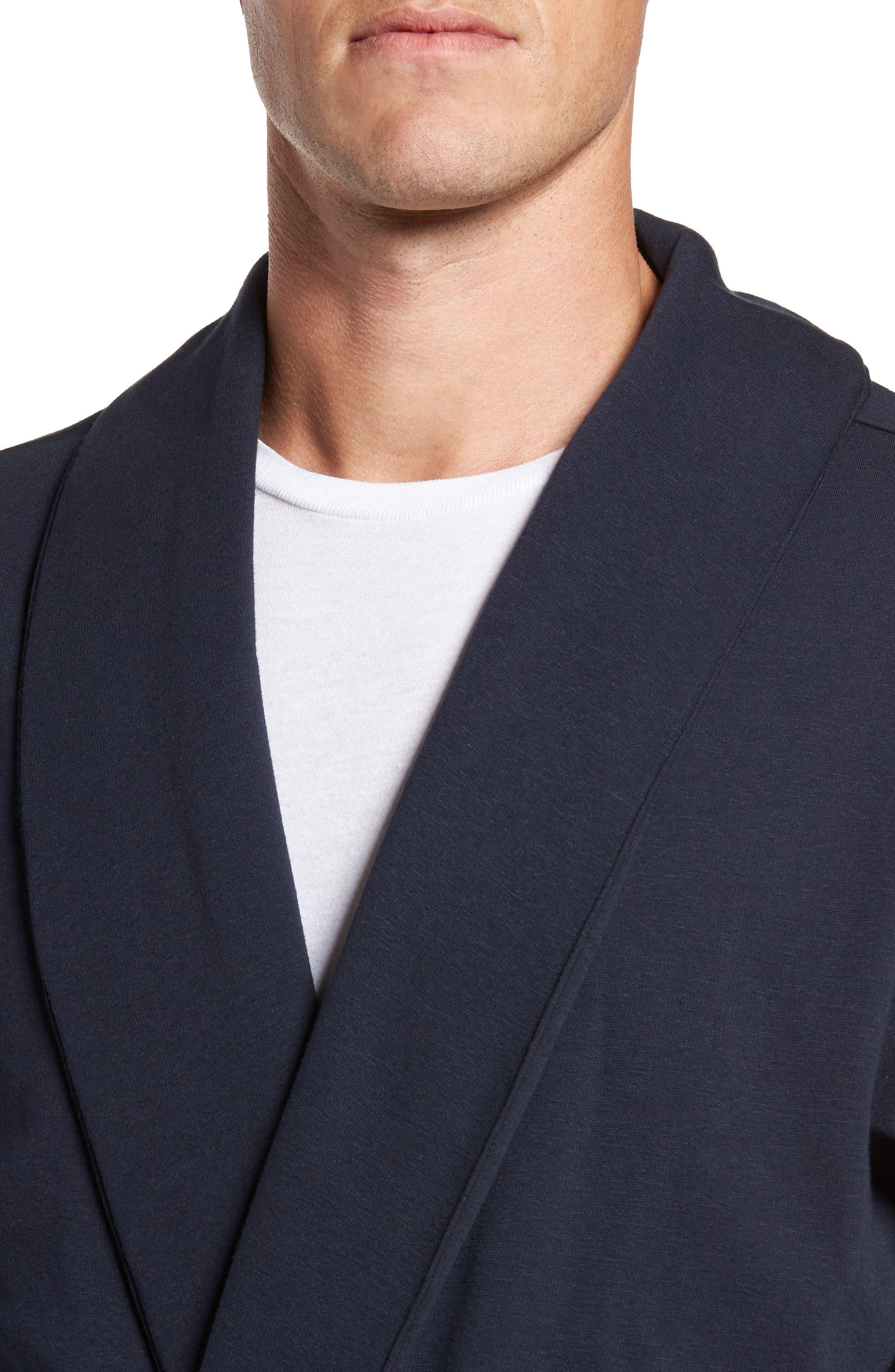Jersey Fleece Robe,                             Alternate thumbnail 4, color,                             Navy