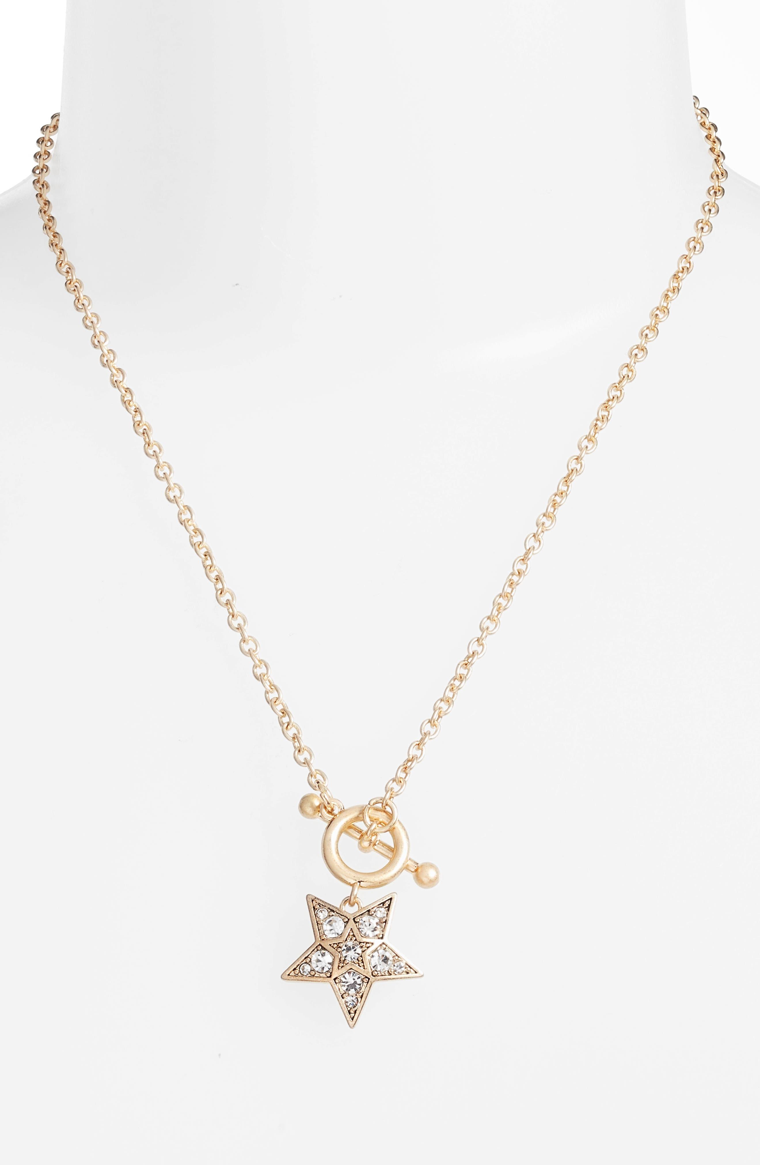 Embellished Star Pendant Necklace,                             Alternate thumbnail 2, color,                             Gold/ Crystal