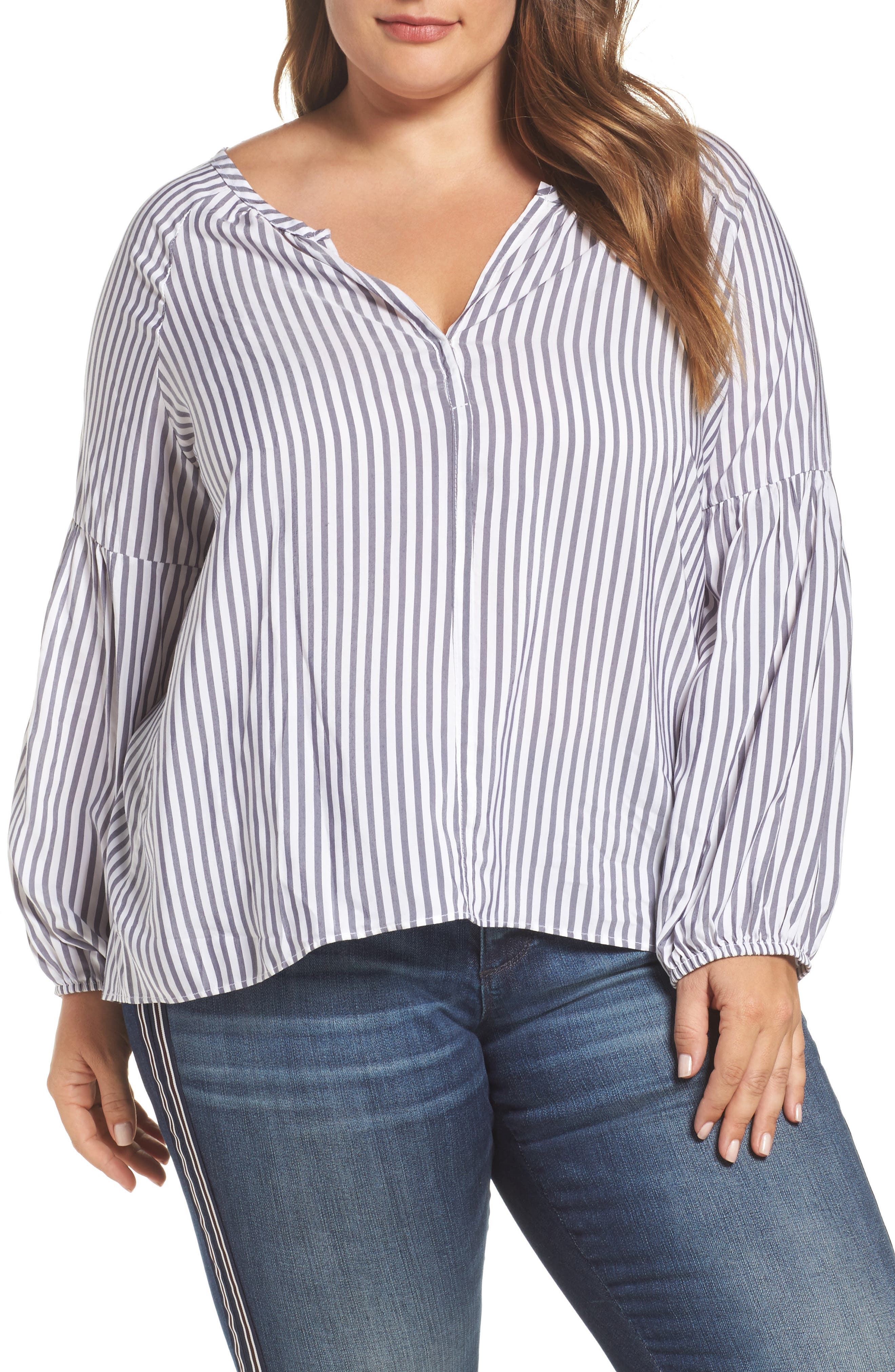 Main Image - ELVI Gathered Sleeve Stripe Blouse (Plus Size)