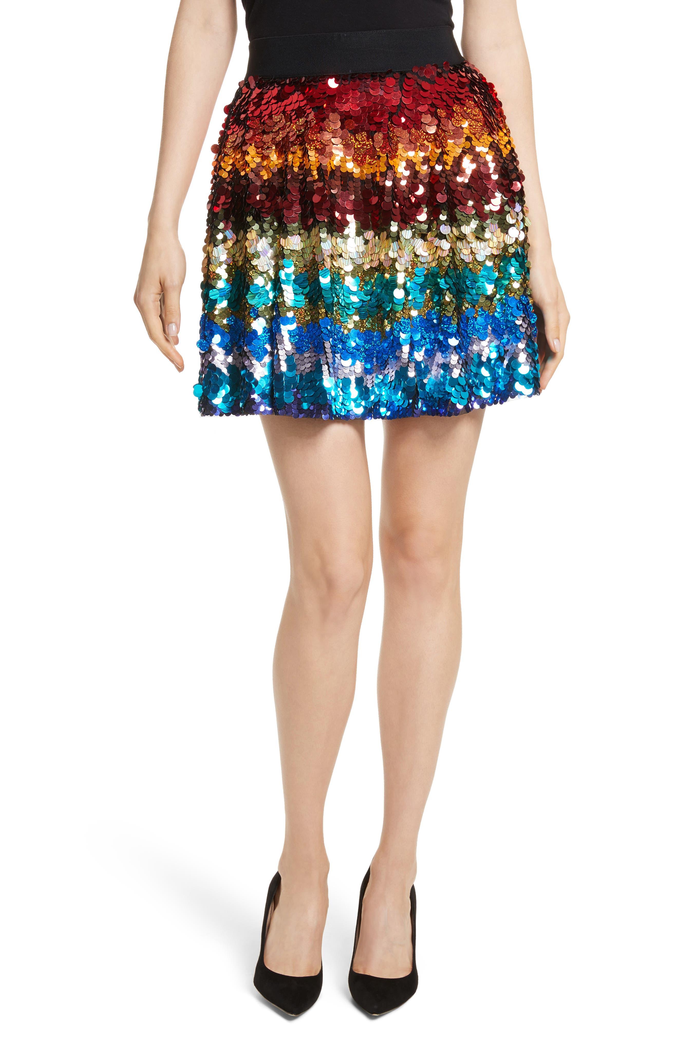 Main Image - Alice + Olivia Blaise Embellished Trapeze Skirt