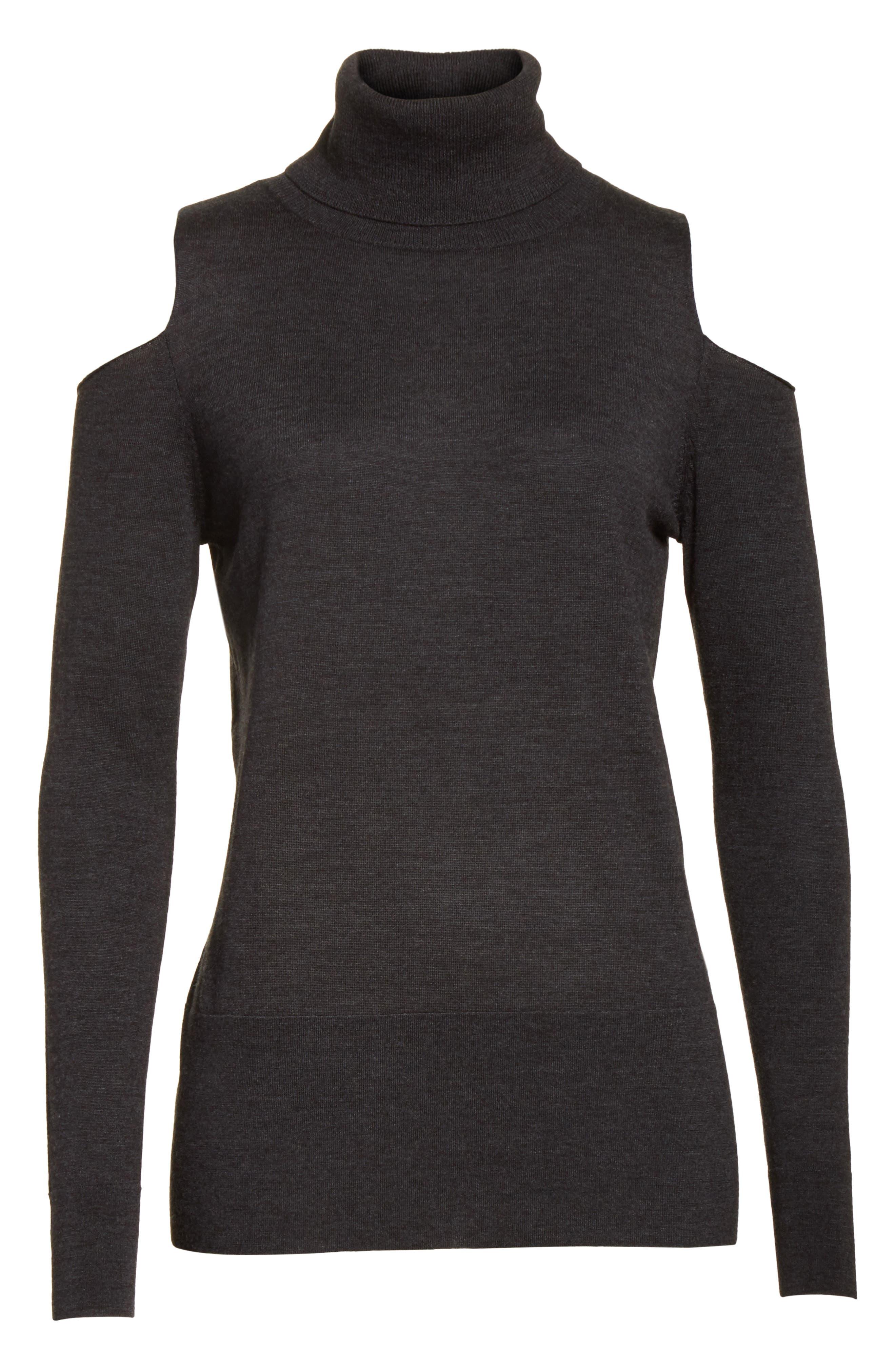 Alternate Image 6  - Allude Merino Wool Cold Shoulder Turtleneck Sweater
