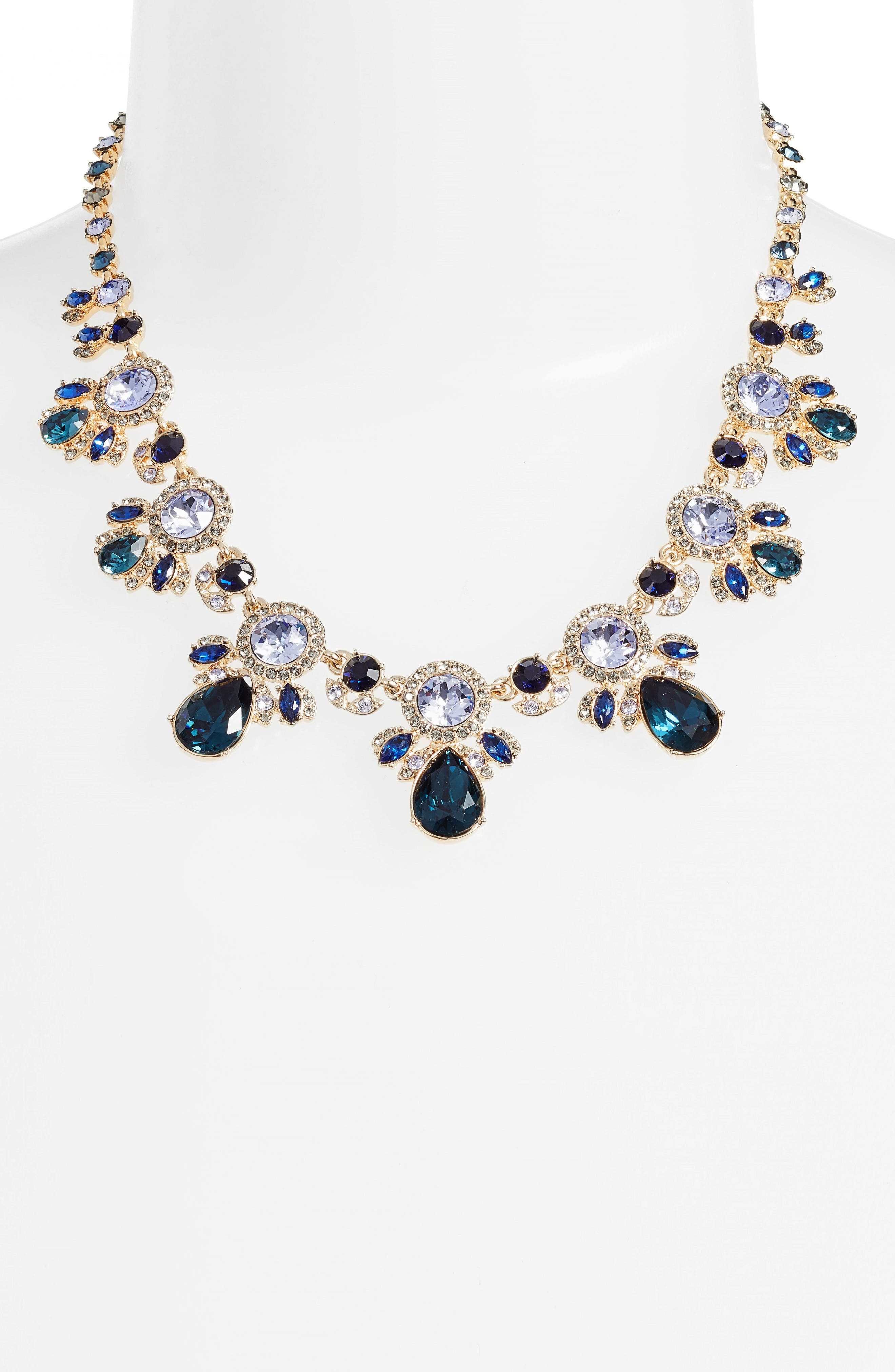 Drama Crystal Collar Necklace,                             Alternate thumbnail 2, color,                             Blue Multi/ Gold