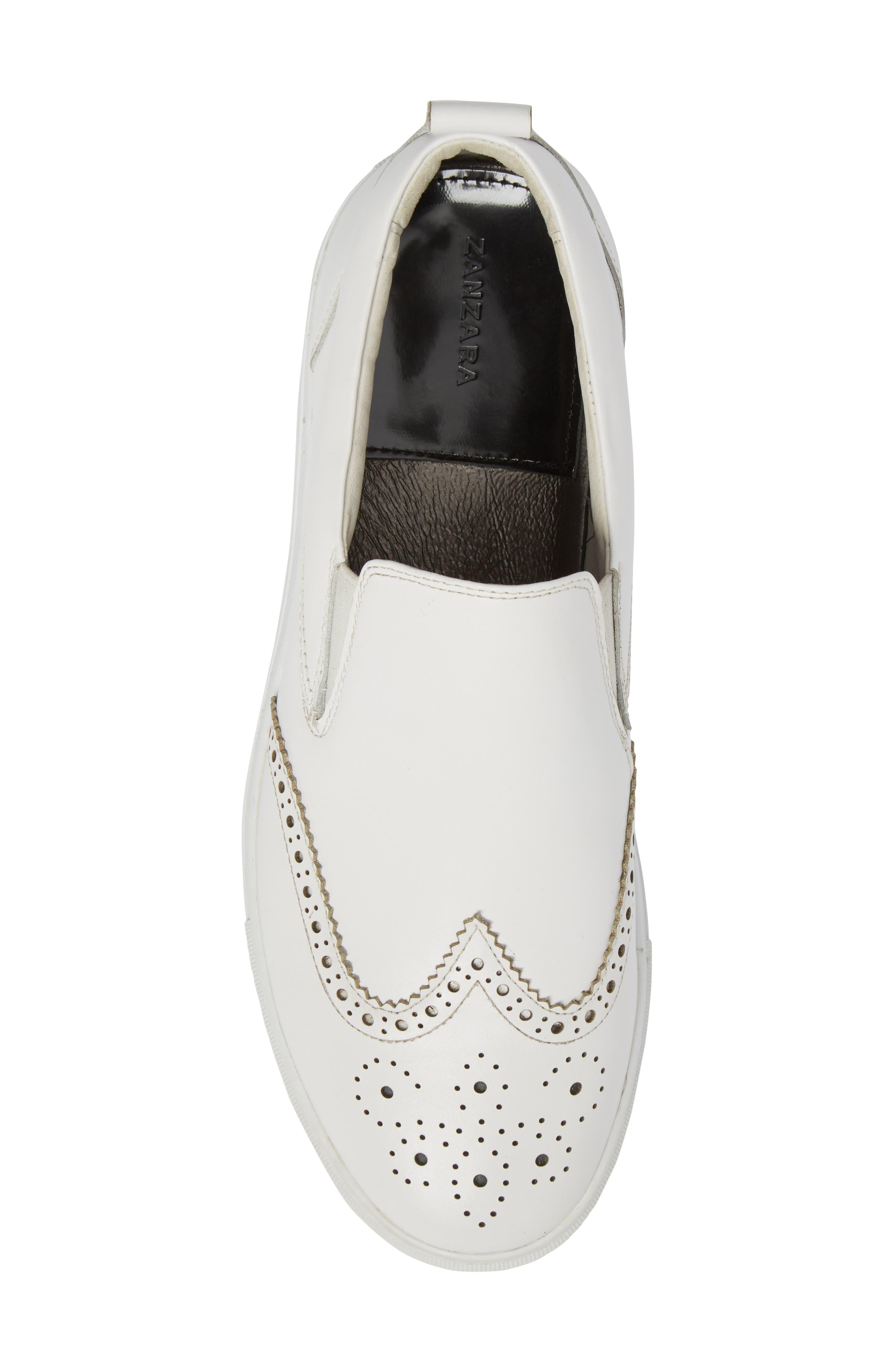 Ali Wingtip Slip-On Sneaker,                             Alternate thumbnail 5, color,                             White Leather