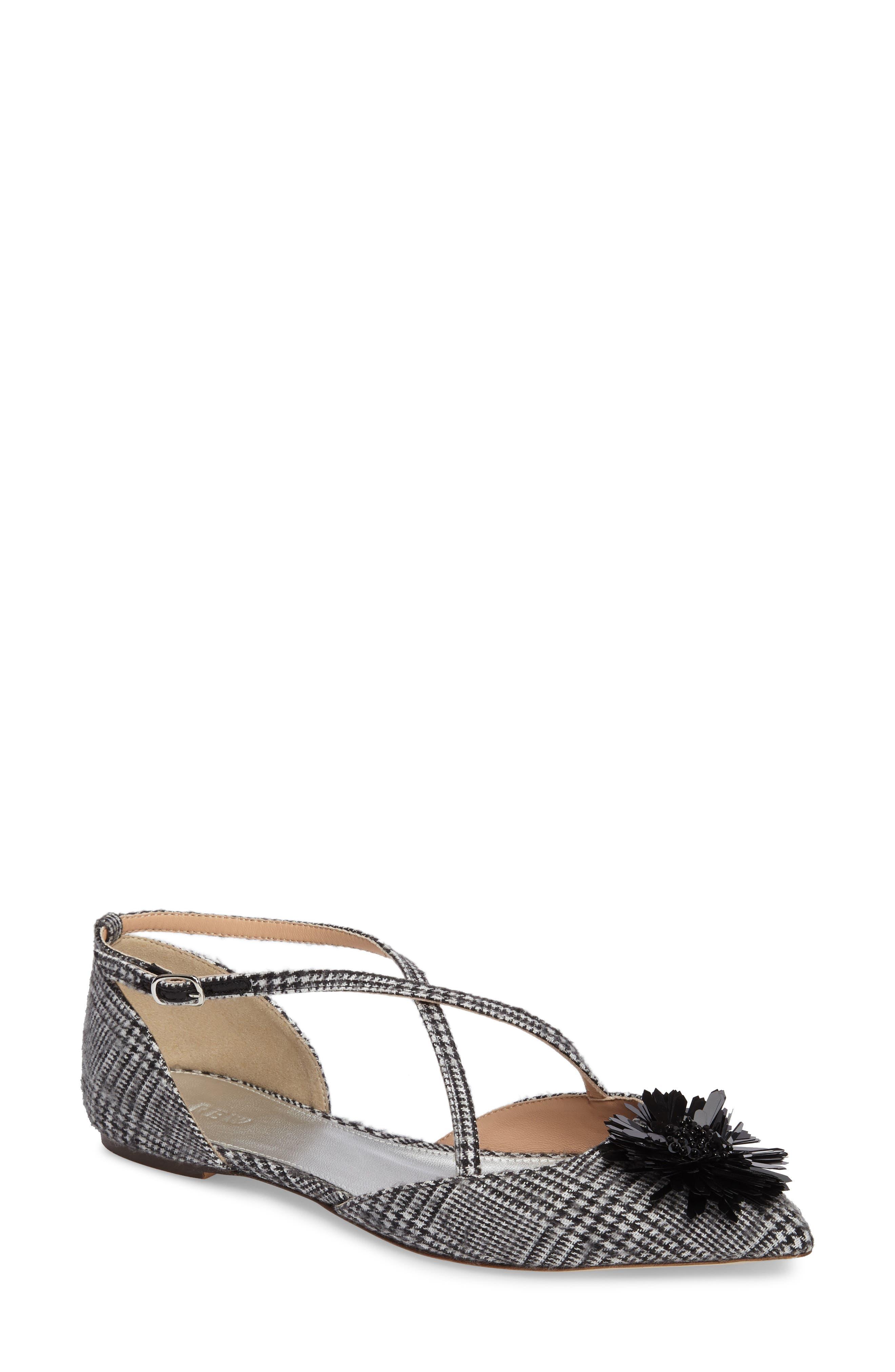 Sadie Cross Strap Pointy Toe Flat,                         Main,                         color, Black/ White Fabric