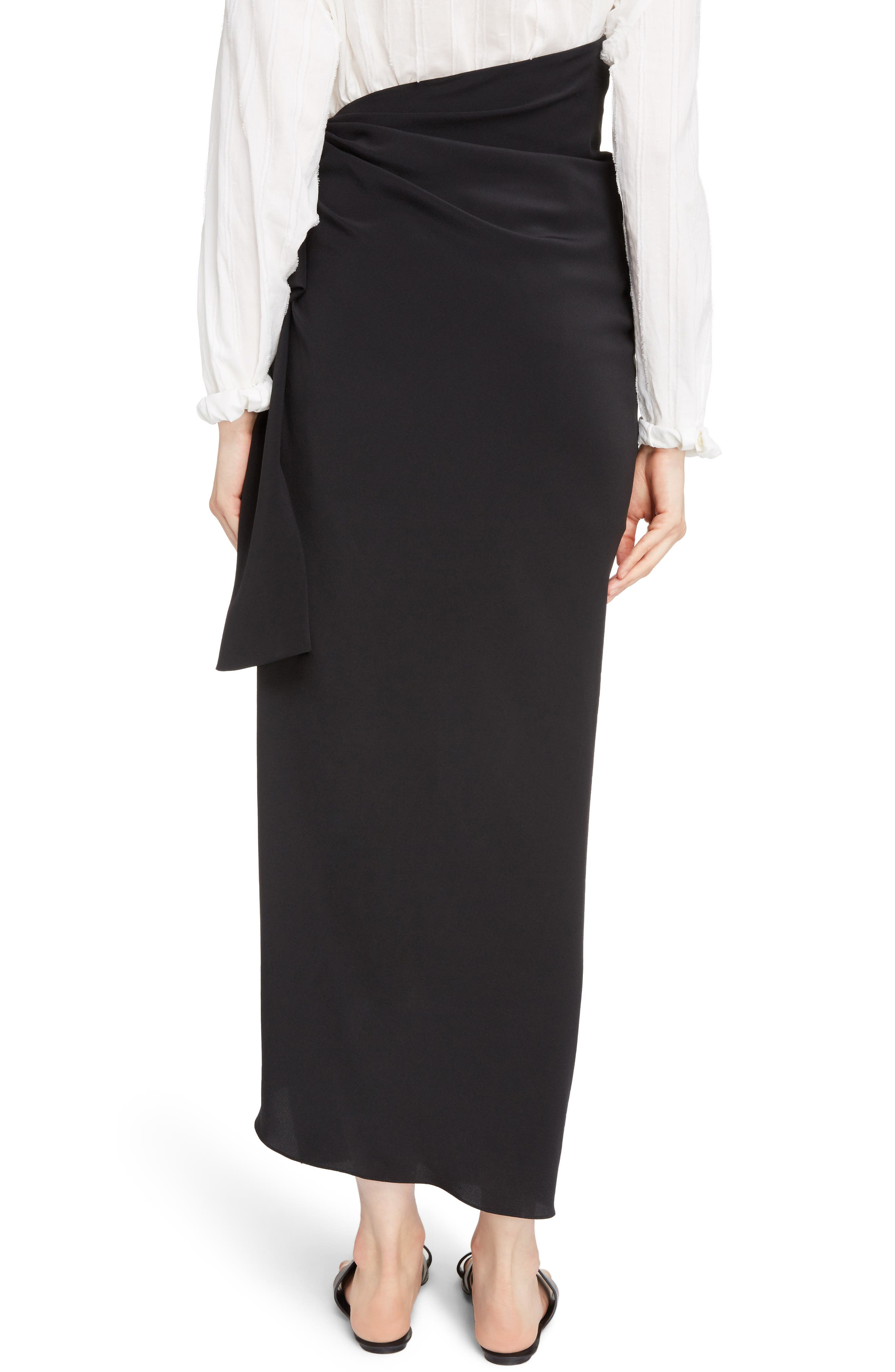 Side Tie Silk Crêpe de Chine Maxi Skirt,                             Alternate thumbnail 2, color,                             Noir