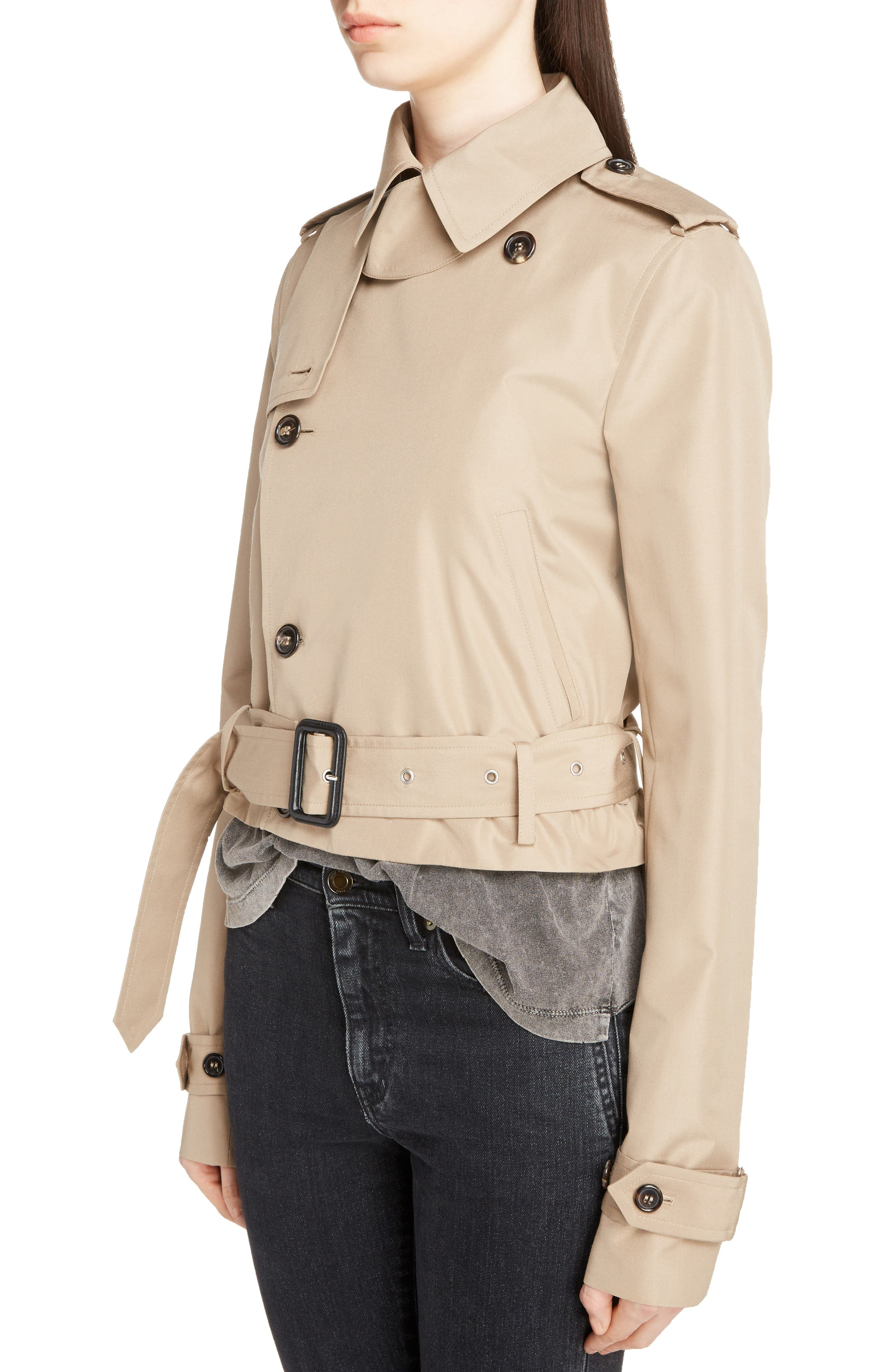 Cotton Gabardine Crop Trench Jacket,                             Alternate thumbnail 4, color,                             Sable