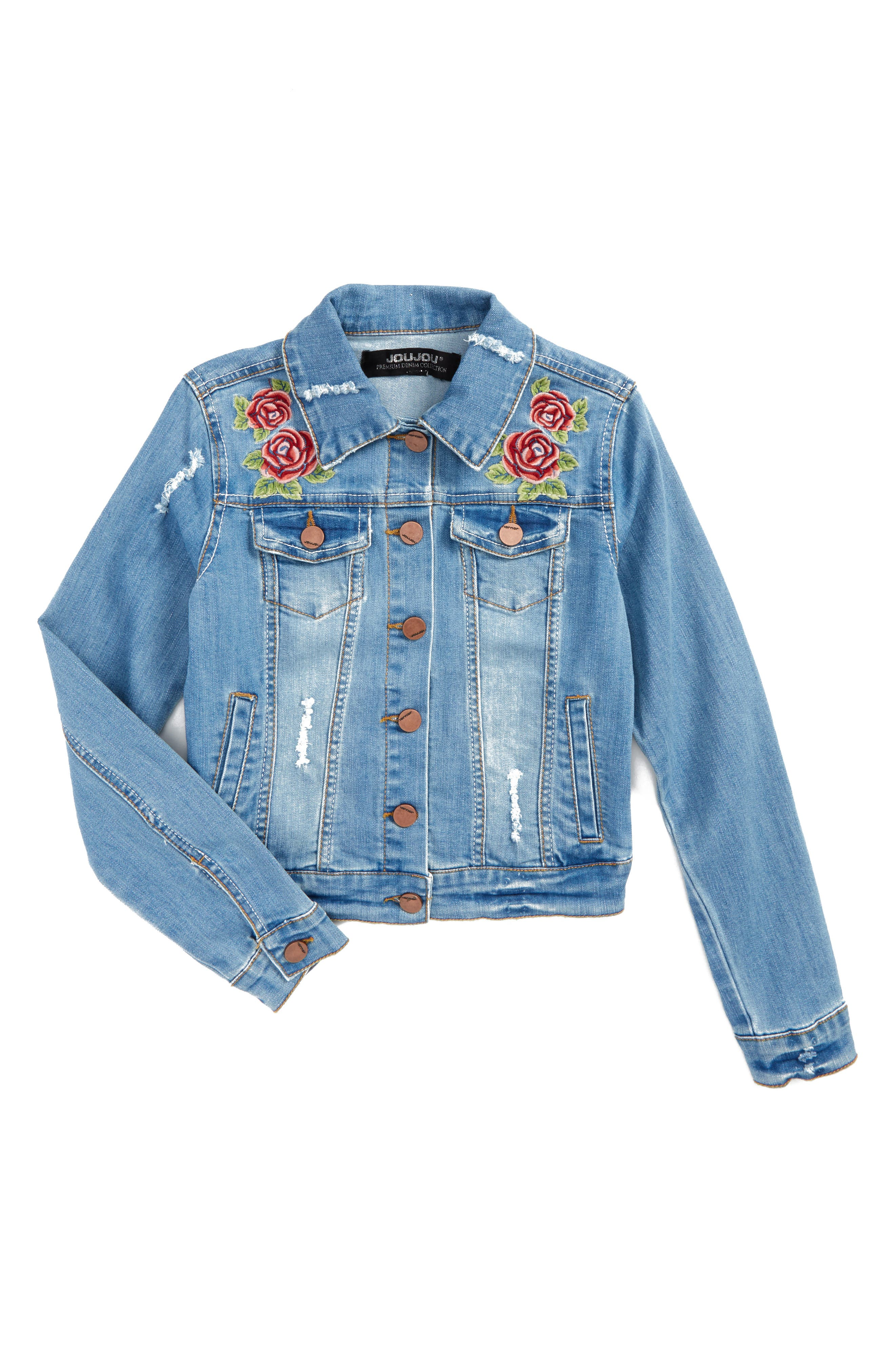 Alternate Image 1 Selected - Jou Jou Embroidered Denim Jacket (Big Girls)